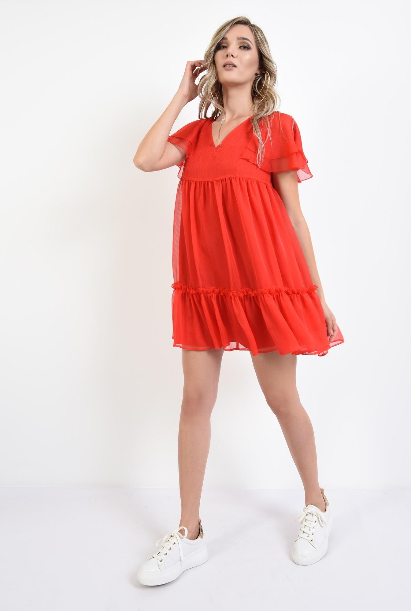 360 - rochie scurta, de vara, rosie, cu volane, Poema