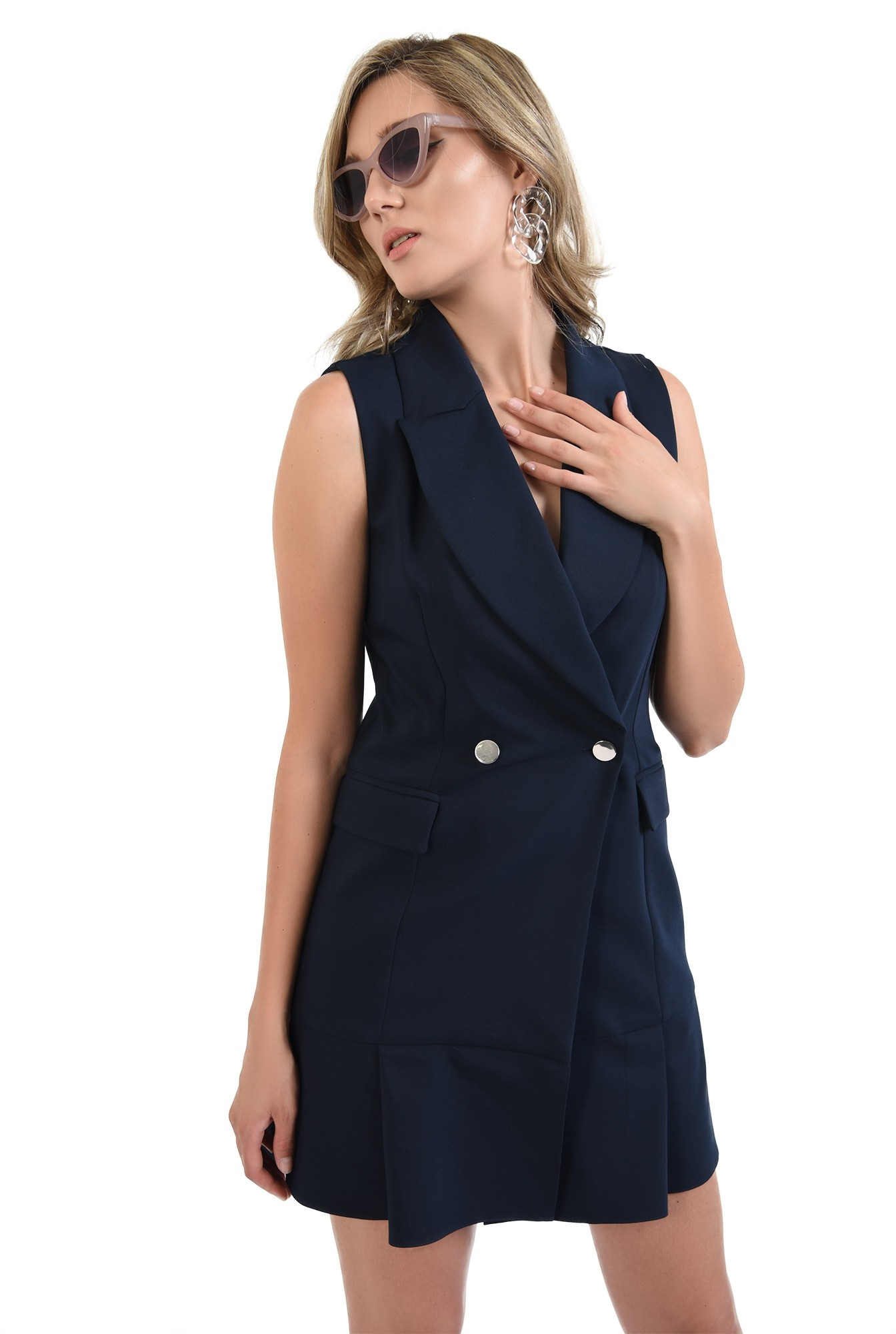 360 - rochie bleumarin, scurta, tip sacou, Poema