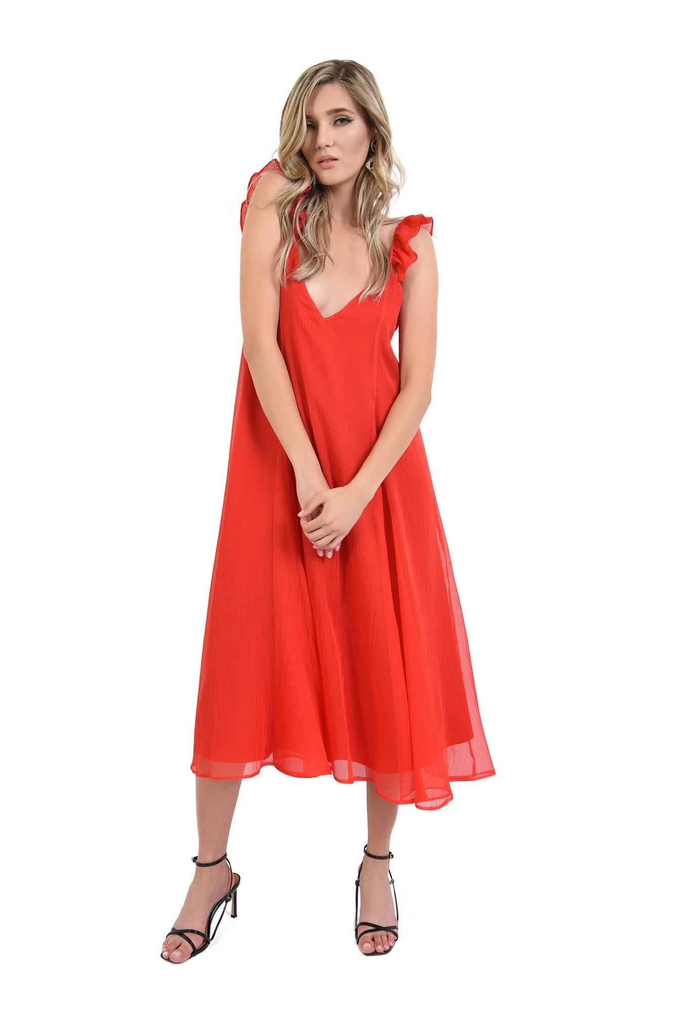 360 - rochie rosie,midi, tip furou, Poema