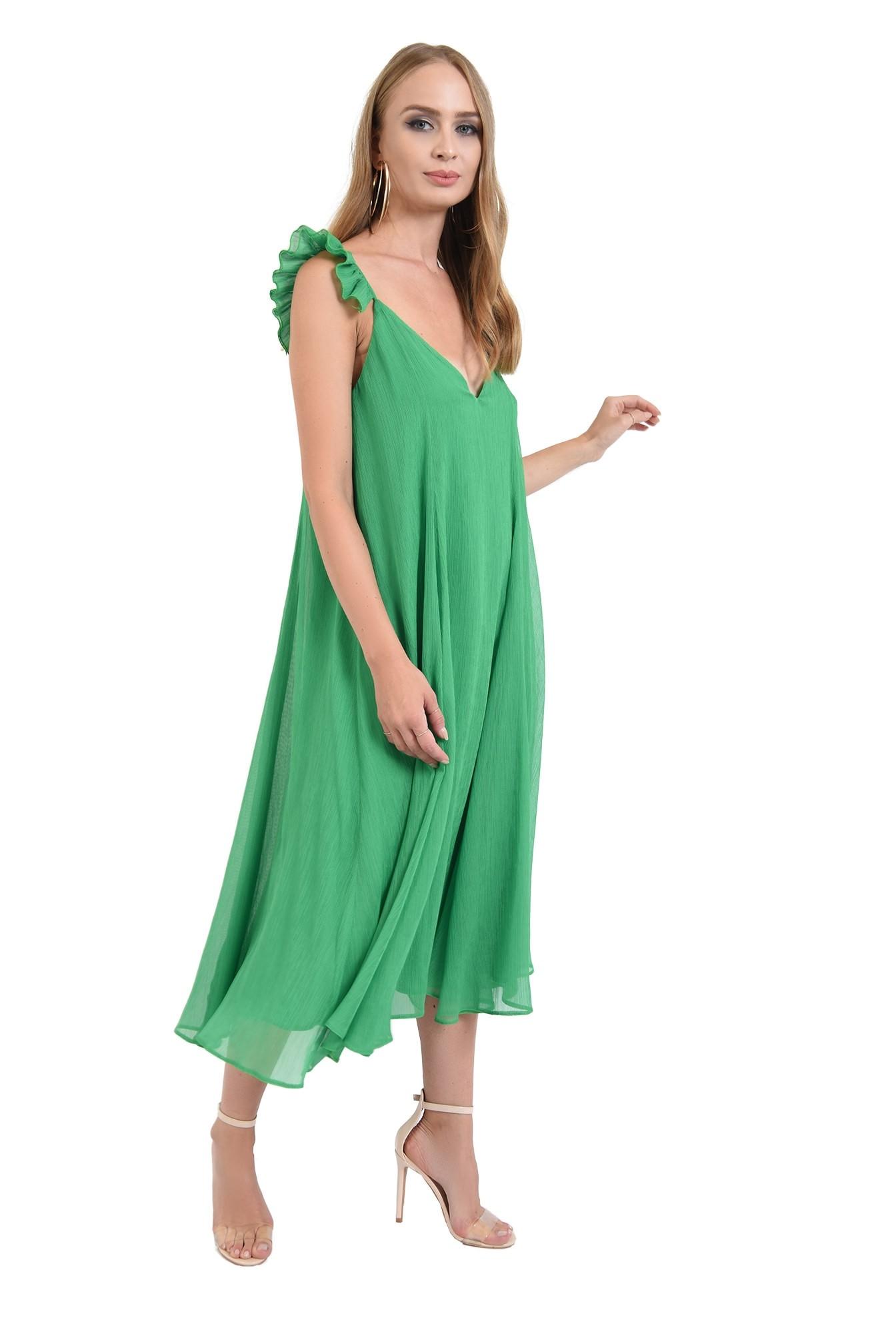 rochie lunga, cu anchior, bretele volan, evazata, verde, Poema
