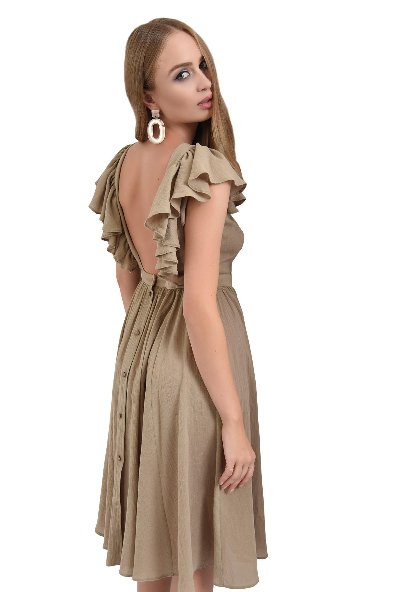 rochie olive, midi, clos, spate gol, nasturi, Poema