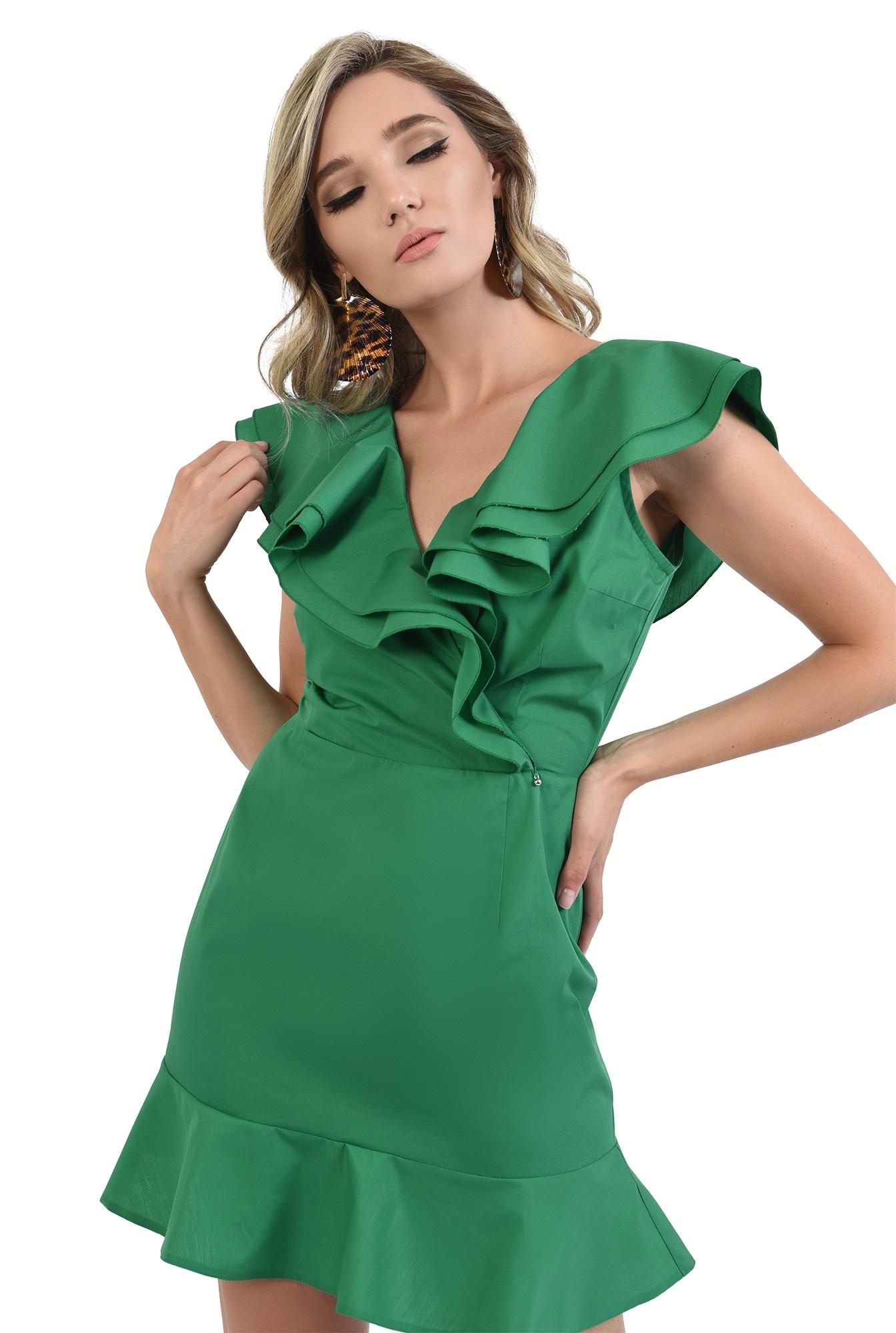 360 - rochie verde, din bumbac, cu volane, Poema