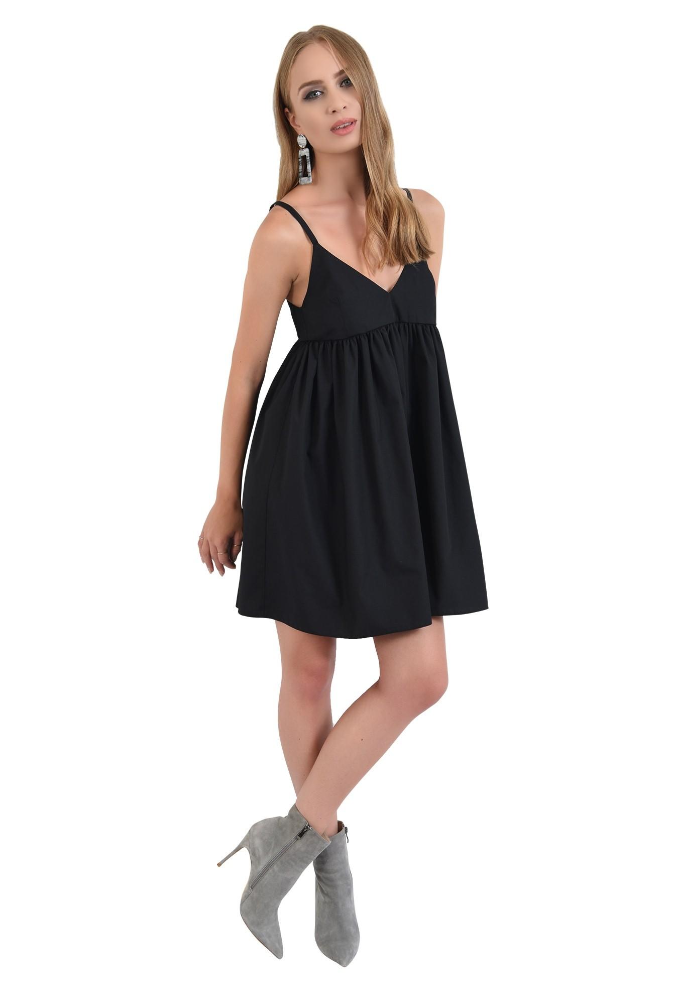 360 - rochie neagra, mini, evazata, cu bretele, anchior
