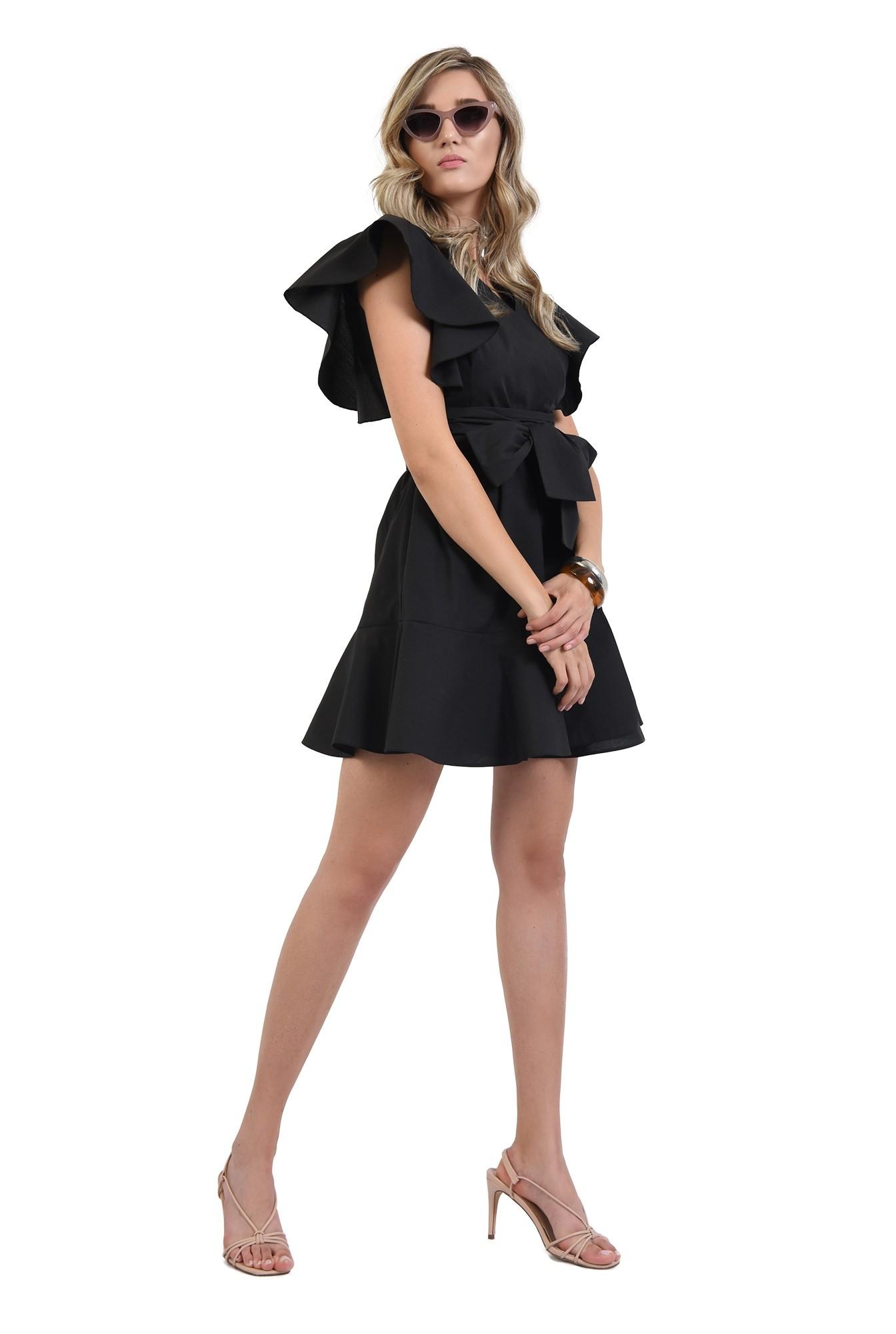 360 - rochie mini, clos, cu volan, anchior, maneci fluture, neagra