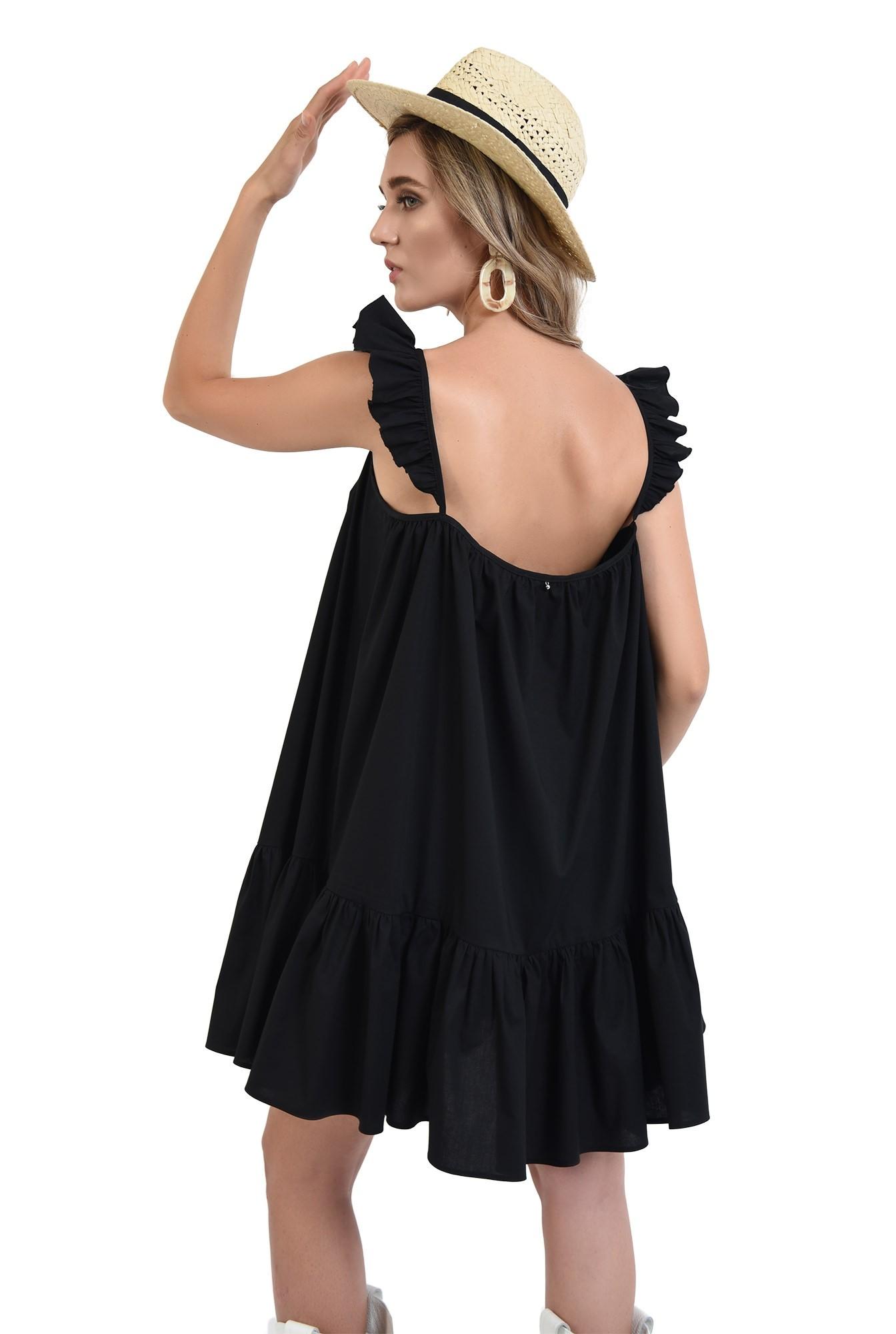rochie neagra, mini, evazata, cu volan la baza, cu bretele, bumbac