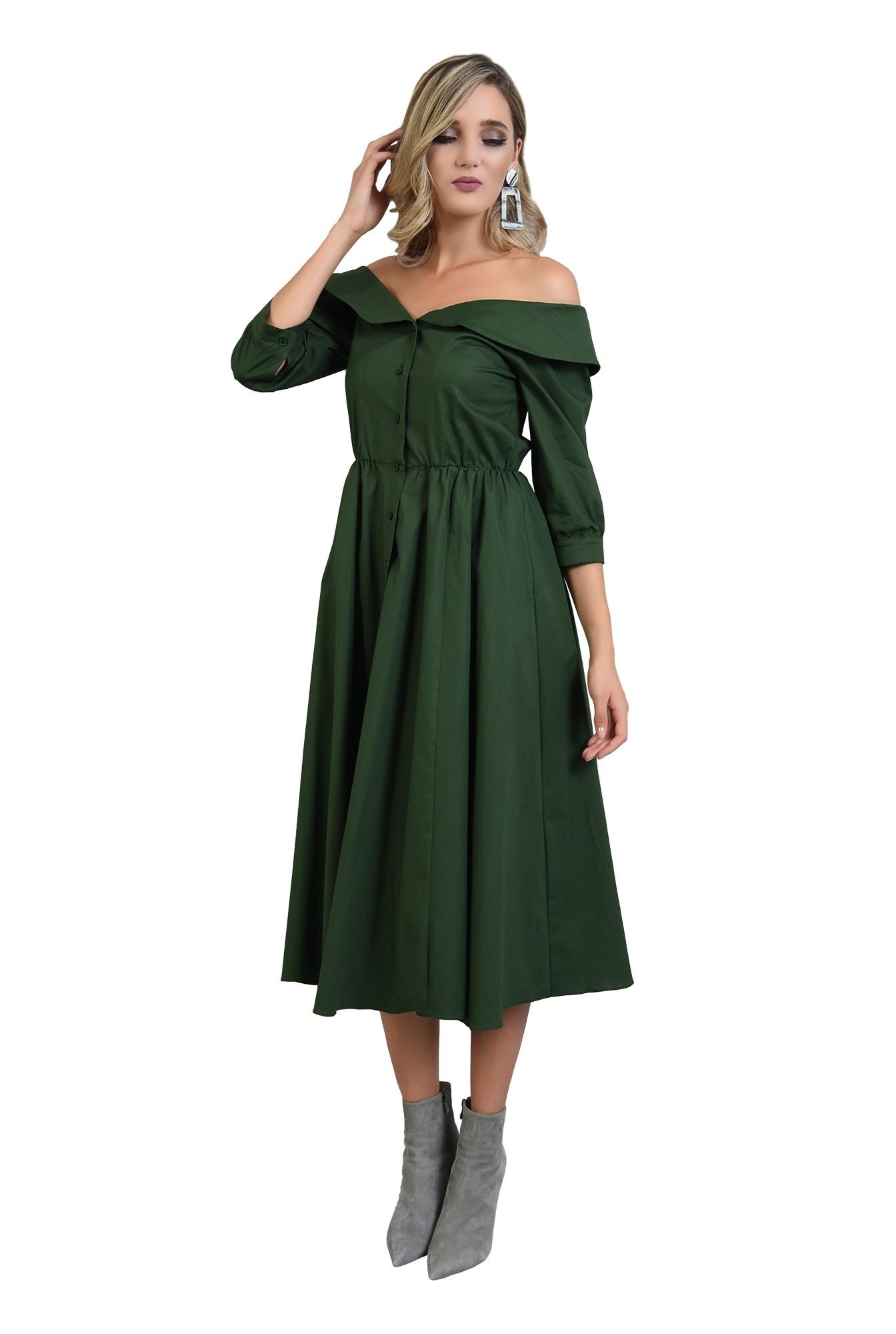 360 - rochie verde midi, evazata, Poema