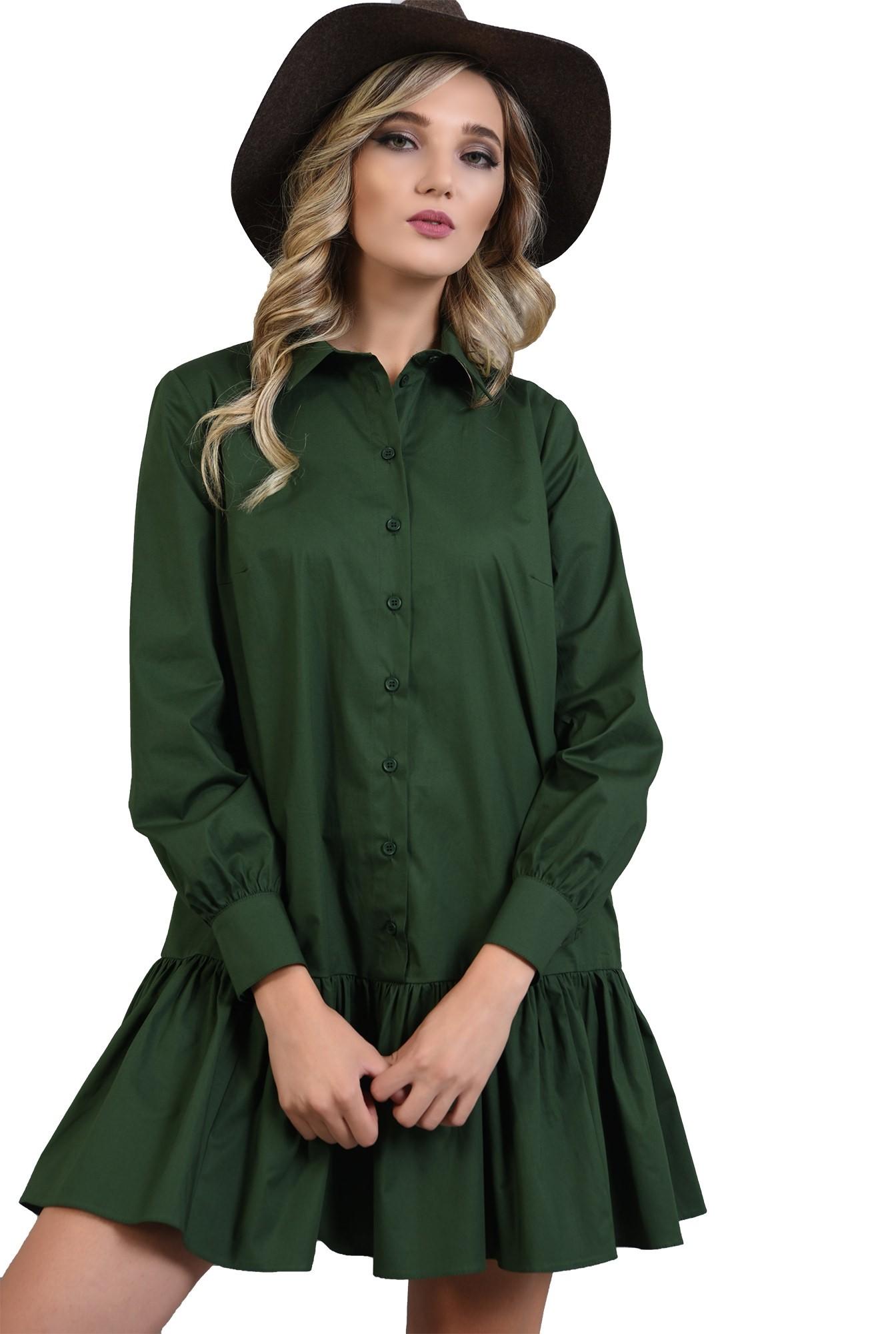 rochie poplin verde, cu volan, guler, Poema