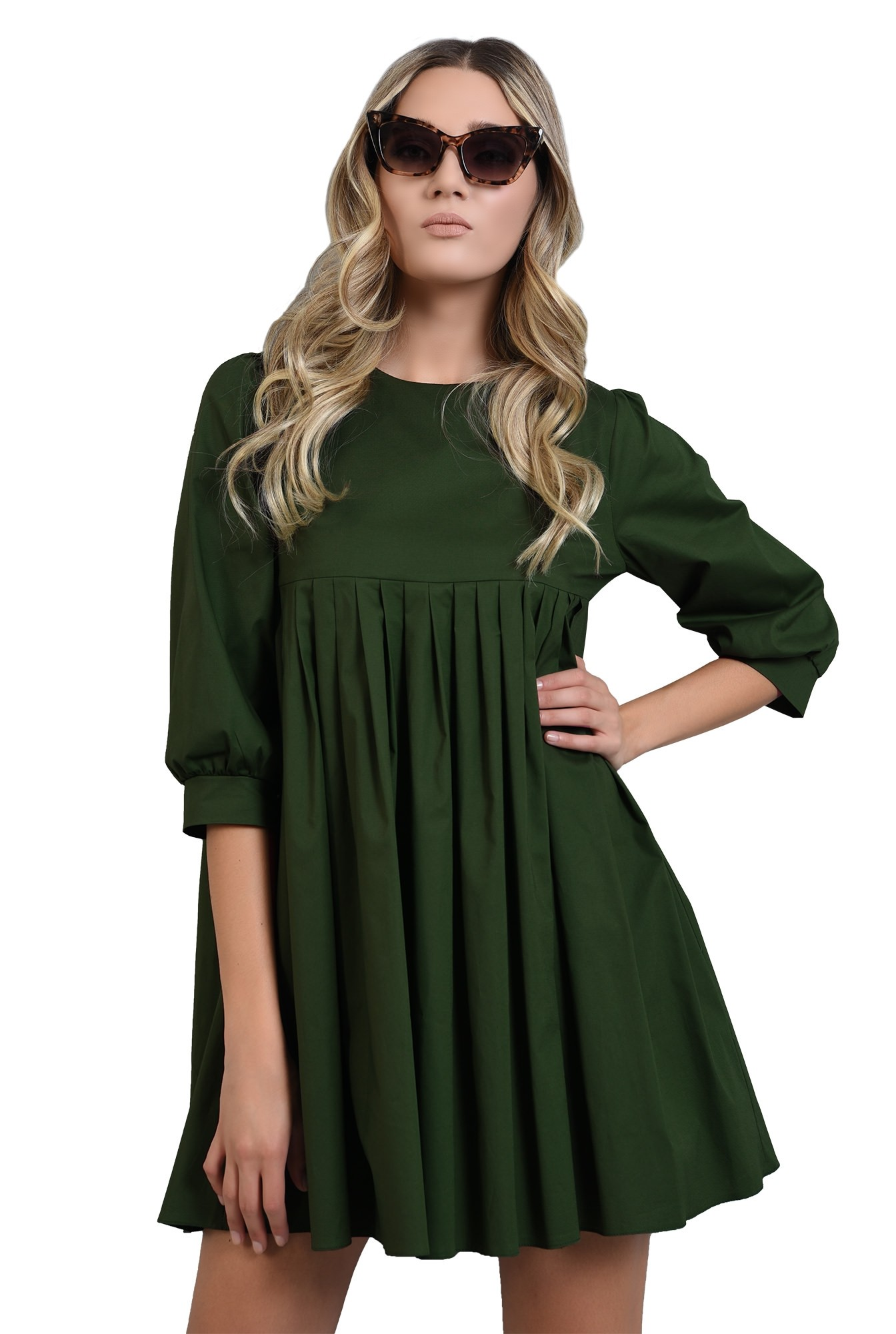 rochie verde scurta, cu pliuri, Poema
