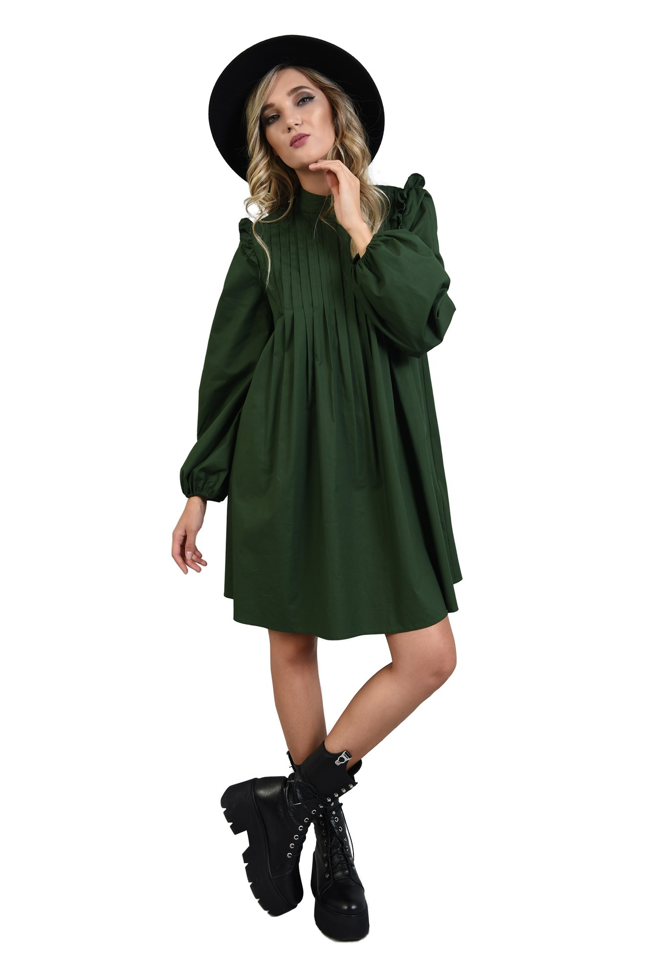 360 - rochie verde, din bumbac, cu pliuri decorative, maneci bufante
