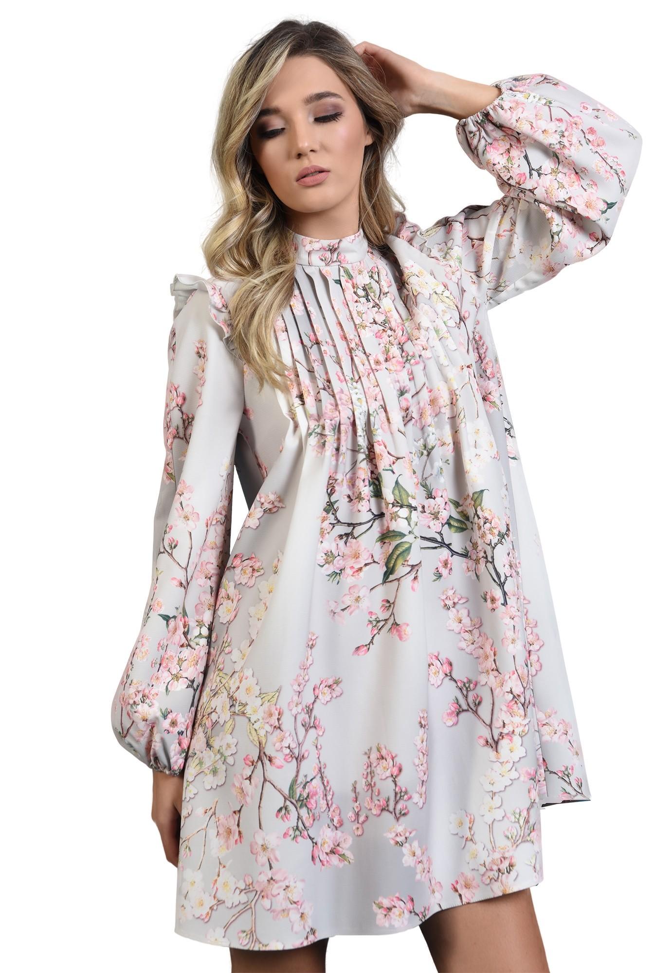 rochie cu imprimeu, cu pliuri, maneci bufante, print floral