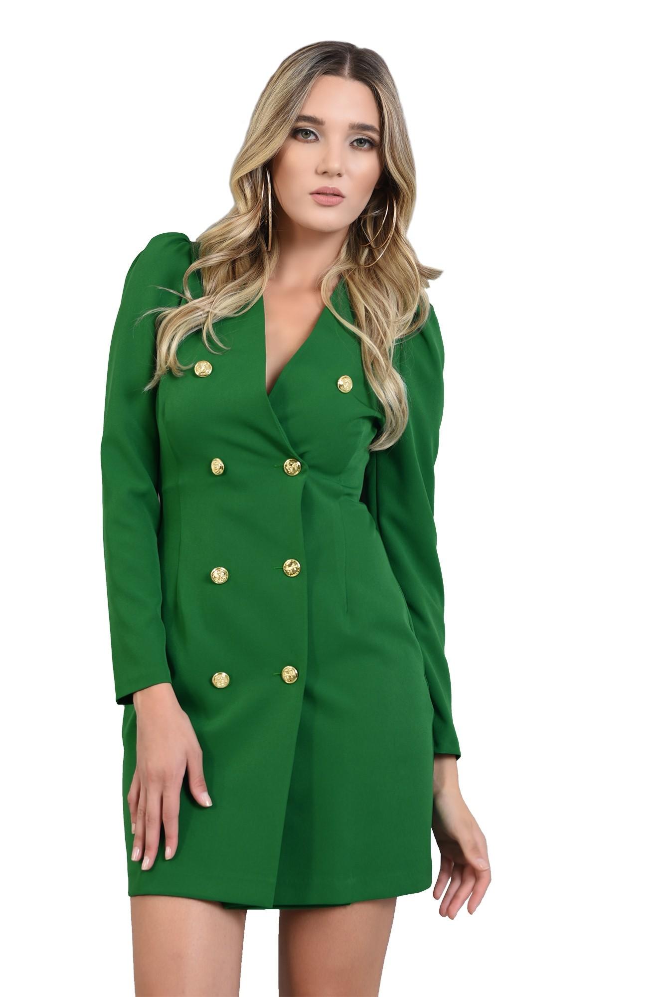 rochie scurta, verde, cu maneca lunga