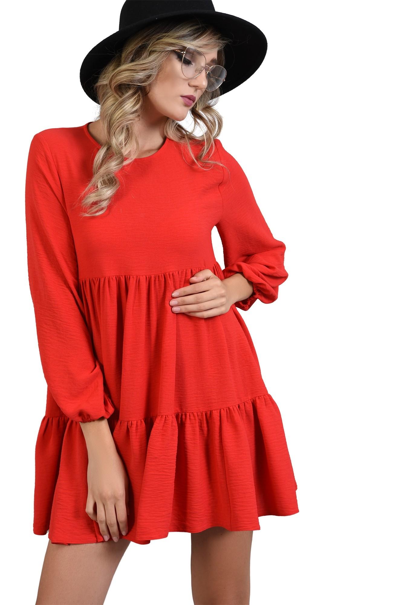 360 - rochie larga rosie, maneca lunga, Poema