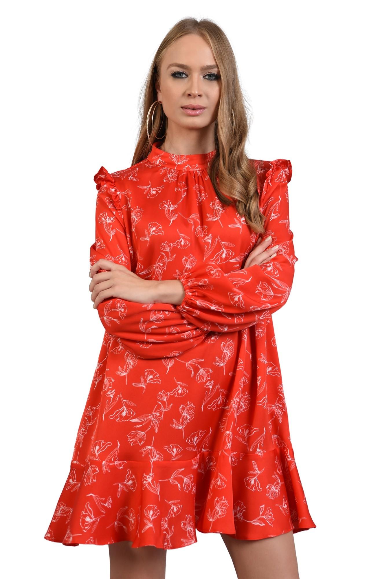 rochie rosie, mini, cu volan la baza, maneci bufante
