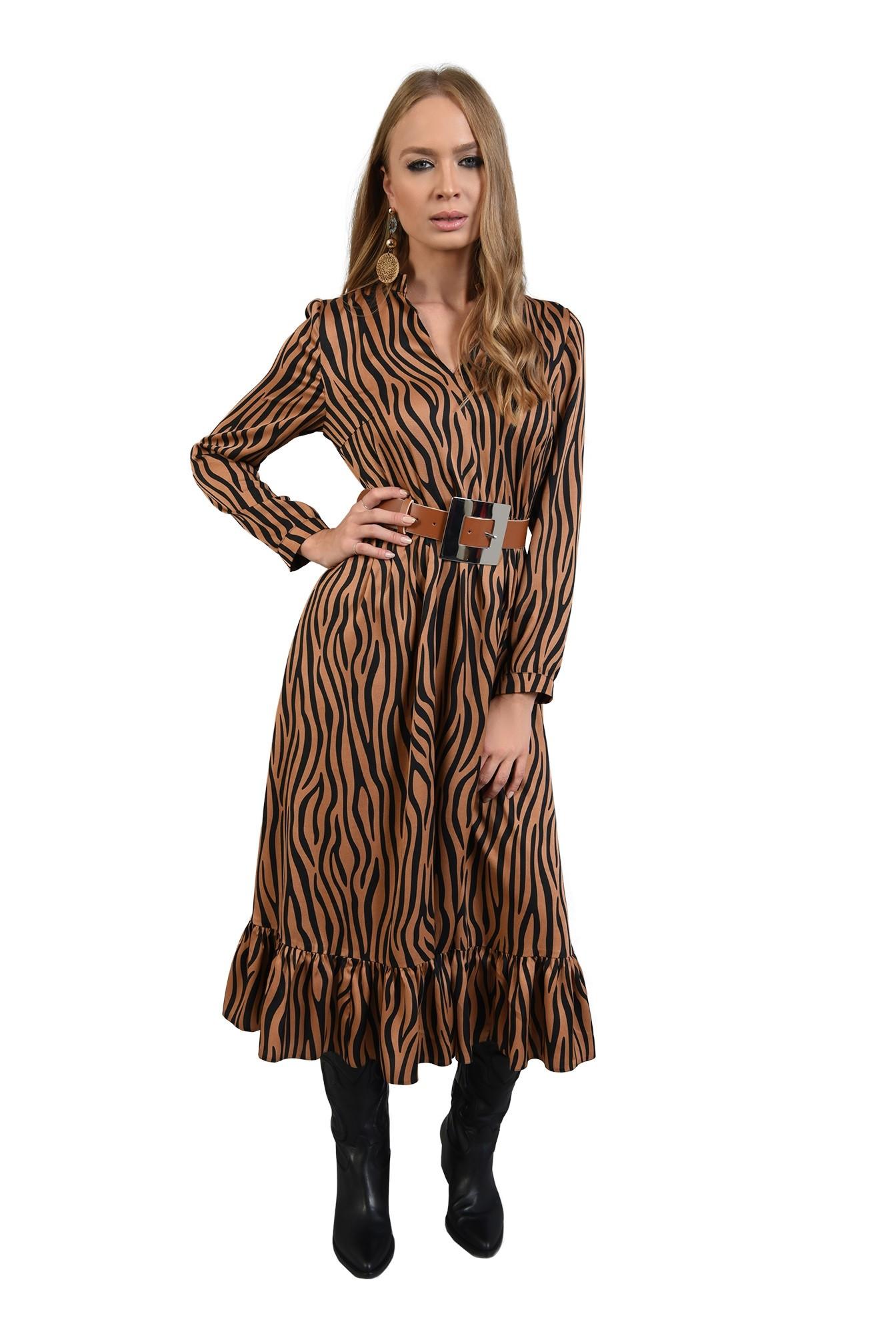 rochie din satin, cu imprimeu, maneci lungi, anchior, zebra