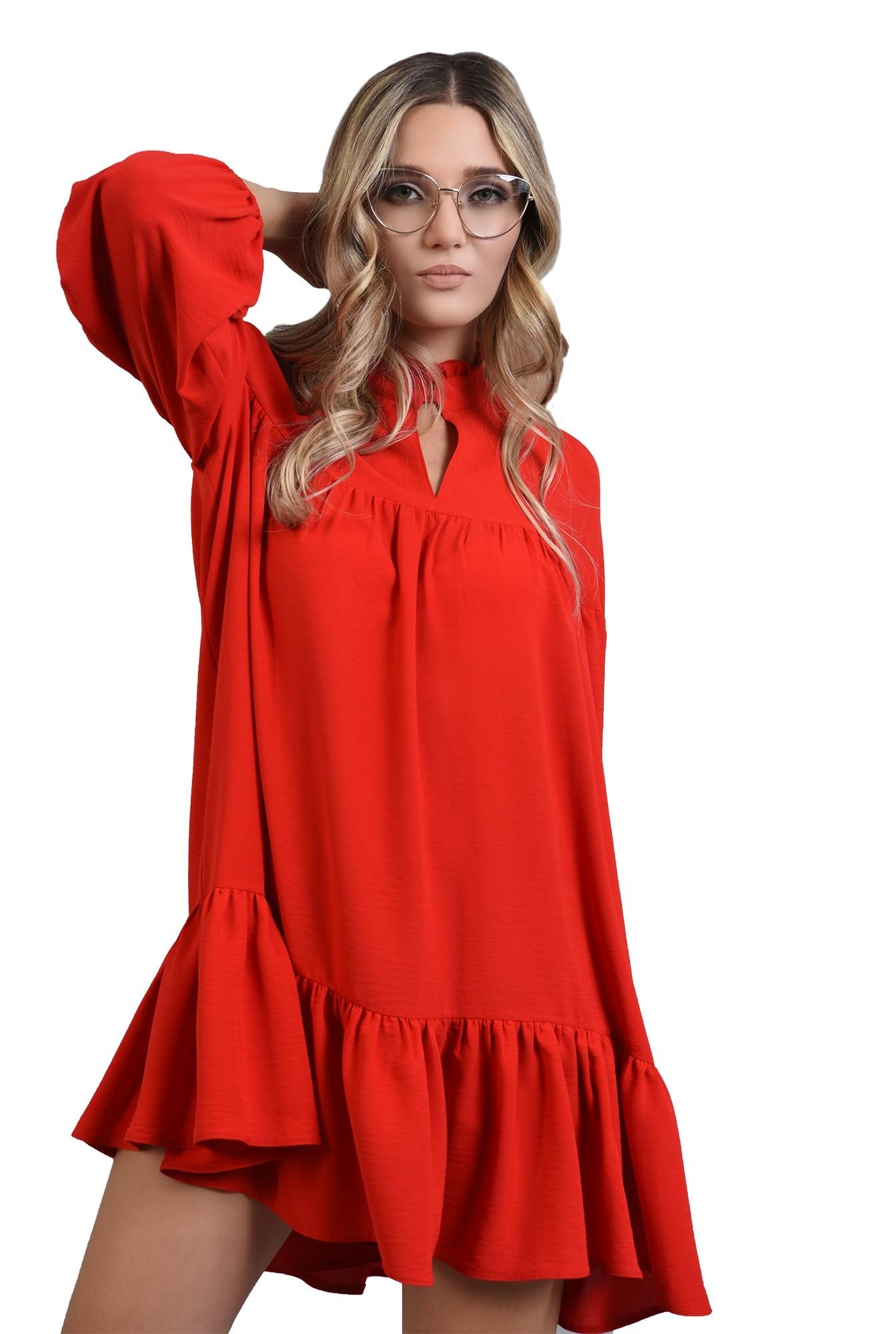rochie rosie mini, larga, cu guler, Poema