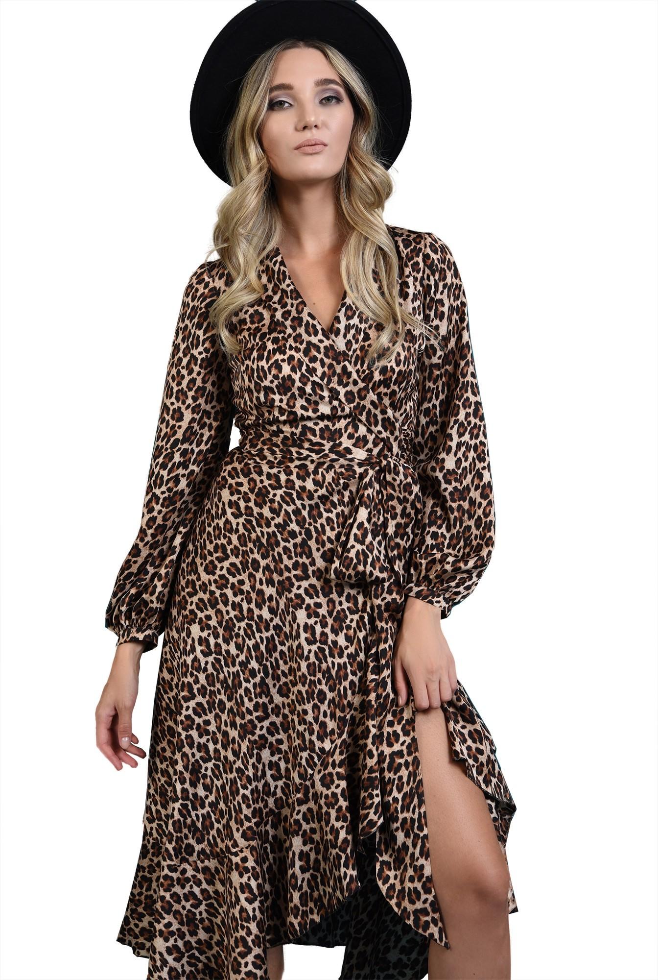 rochie midi, cu imprimeu leopard, cu maneca lunga
