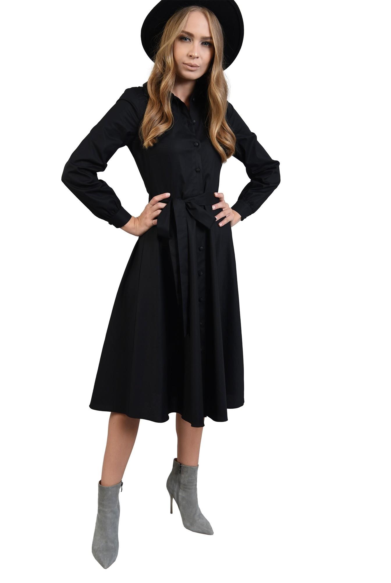 rochie neagra midi, evazata, cu maneca lunga