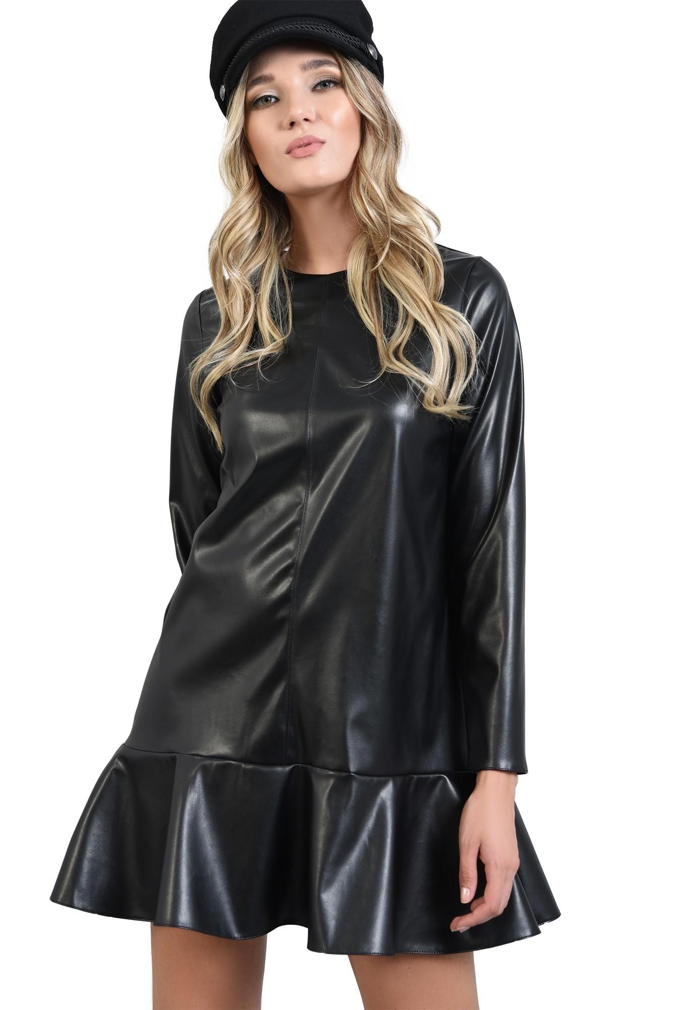 rochie mini,din piele ecologica, cu volan