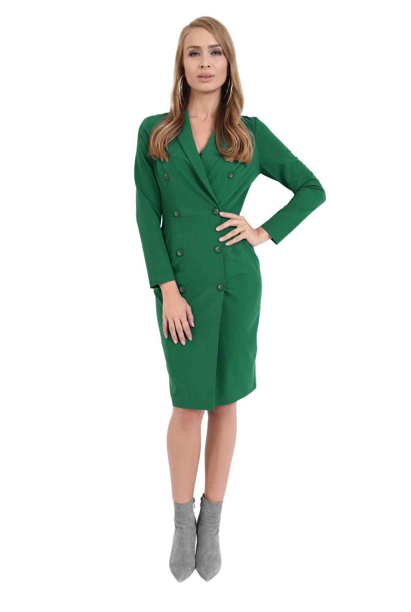360 - rochie midi, verde, tip sacou