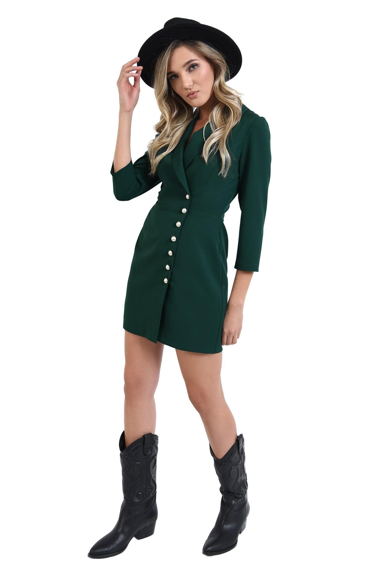 360 - rochie verde, scurta, tip sacou, cu maneca trei sferturi