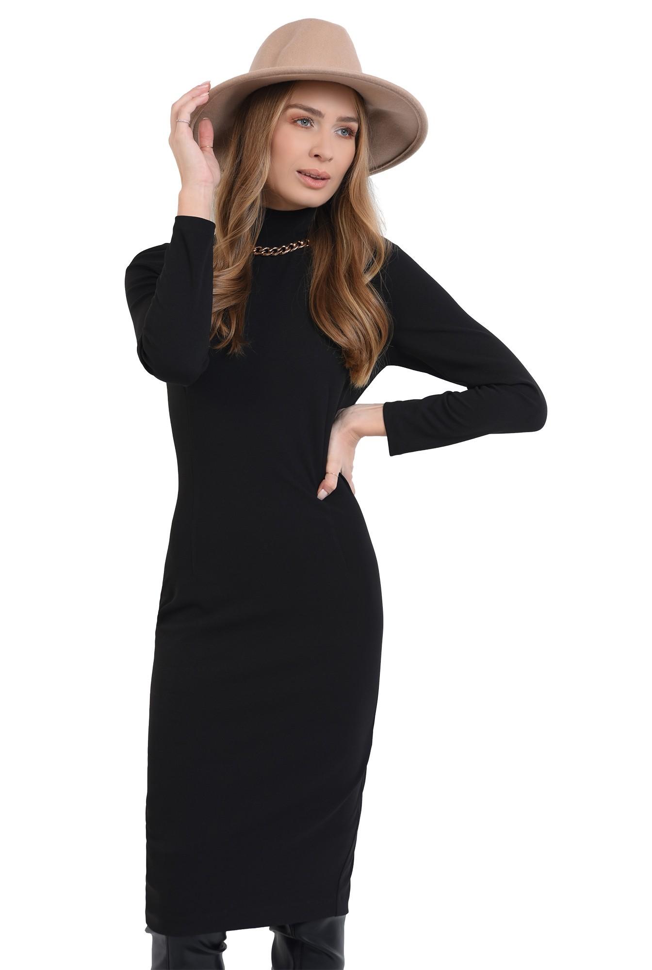 rochie midi, neagra, conica, cu guler inalt