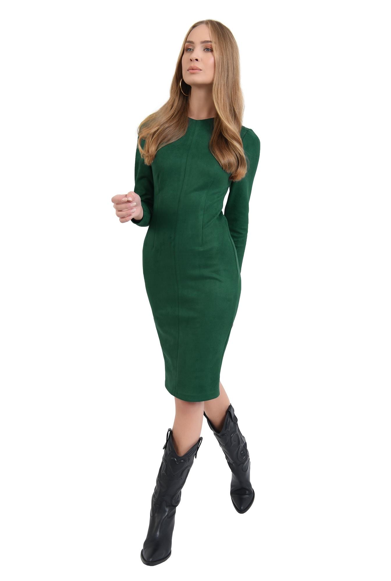 rochie conica, verde, midi, Poema