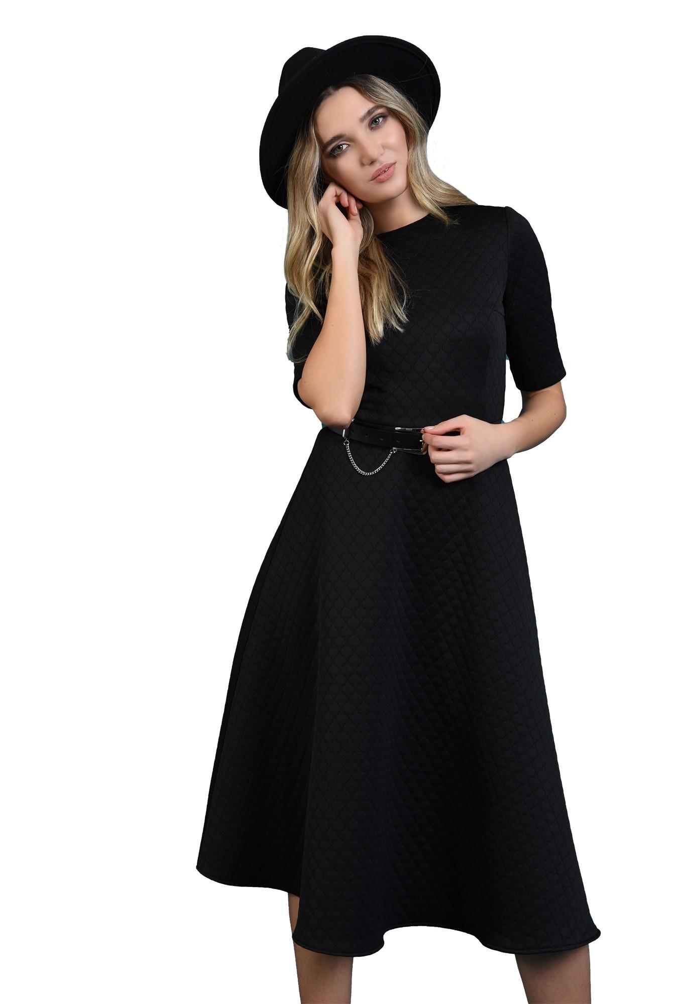 rochie midi, neagra, cu maneca scurta, Poema