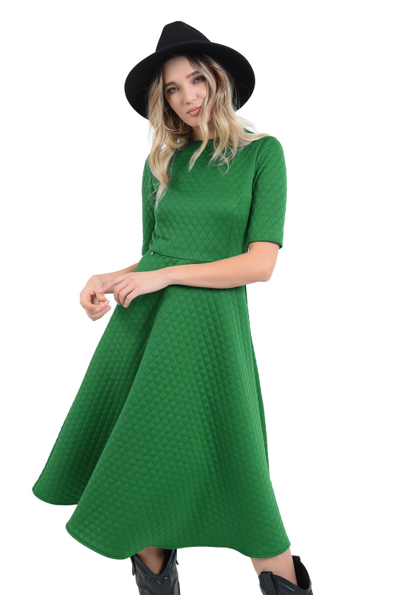 rochie evazata, verde, midi, cu maneca scurta