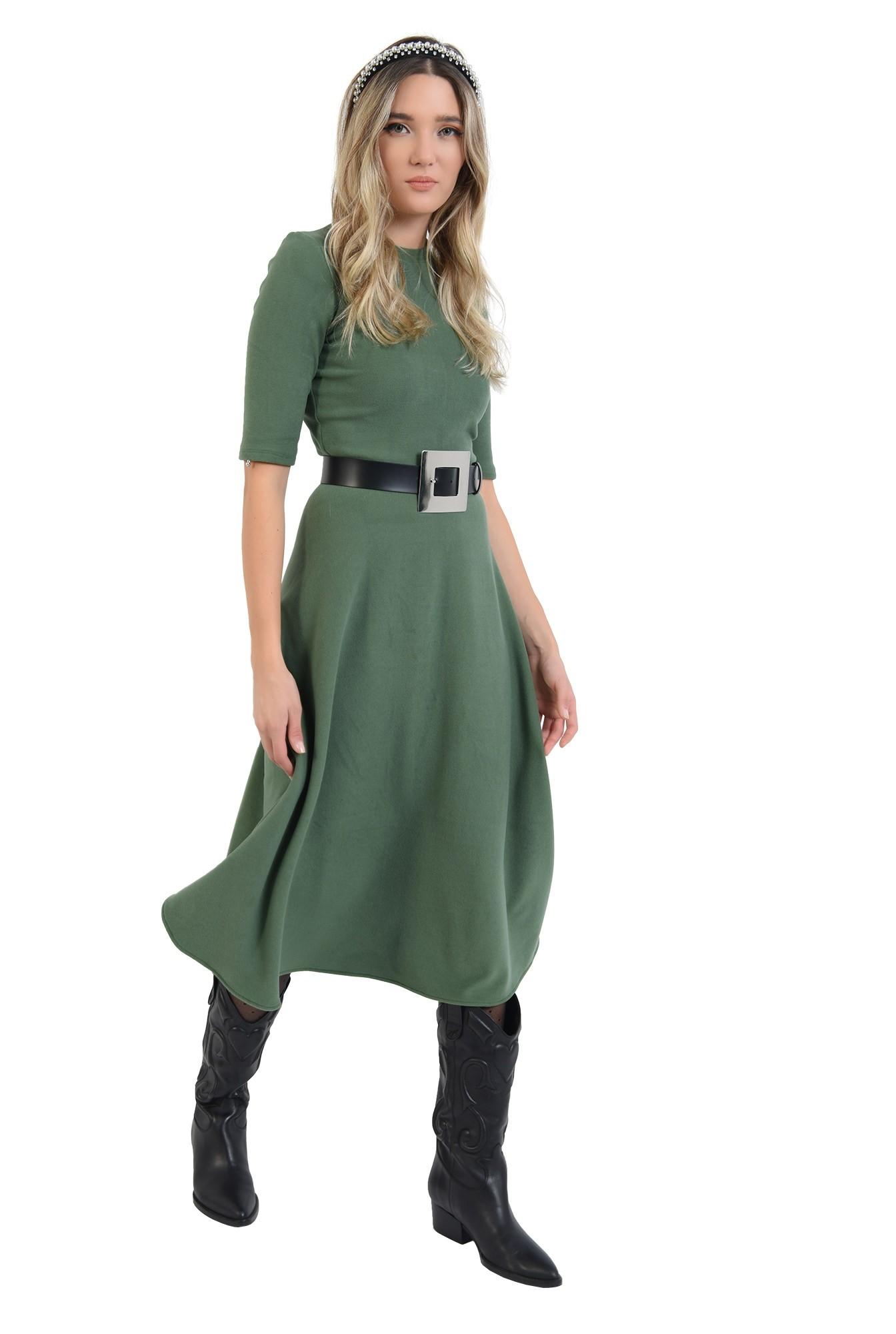 360 - rochie midi, verde, din jerseu, cu guler
