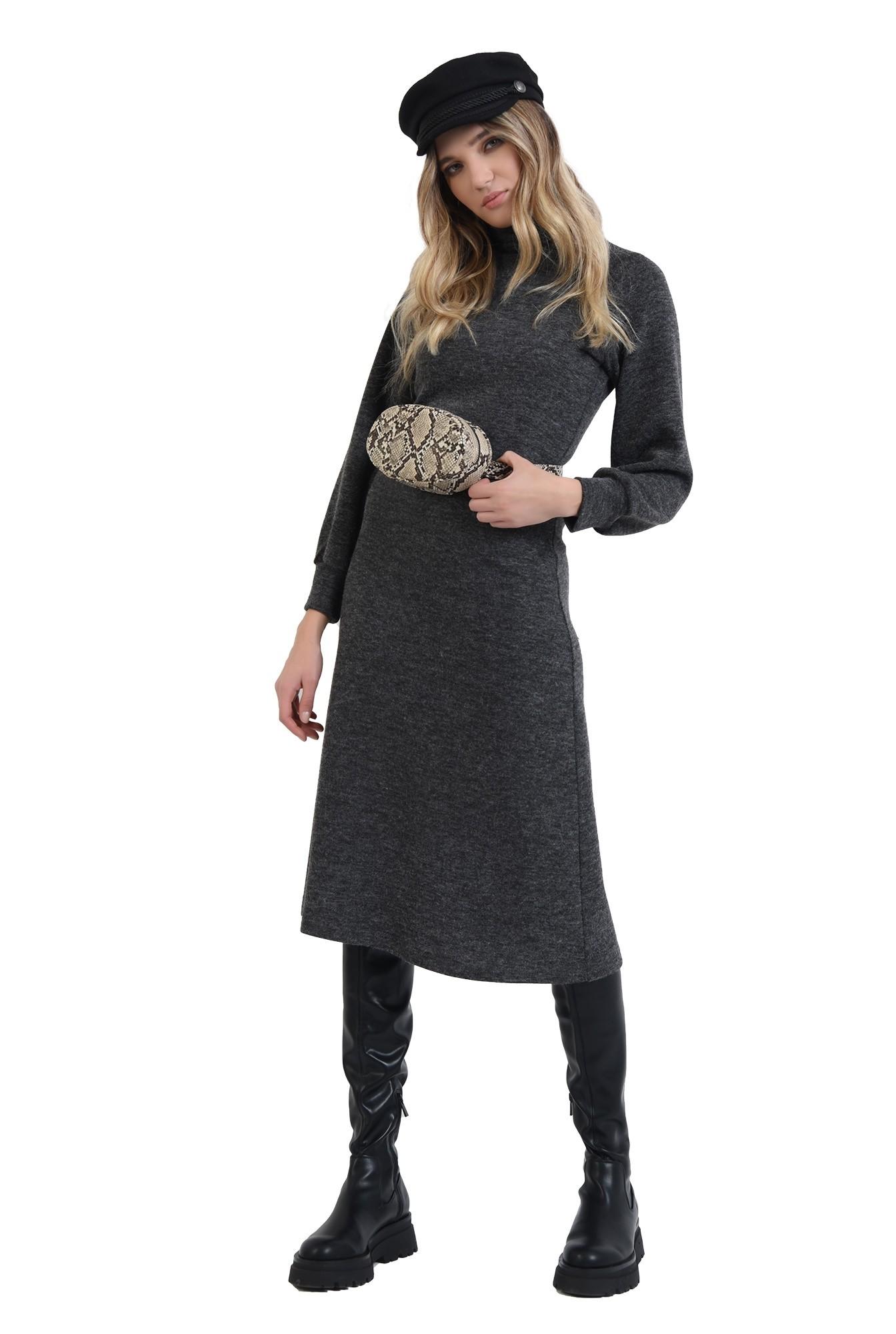 360 - rochie midi, gri, evazata, din tricot