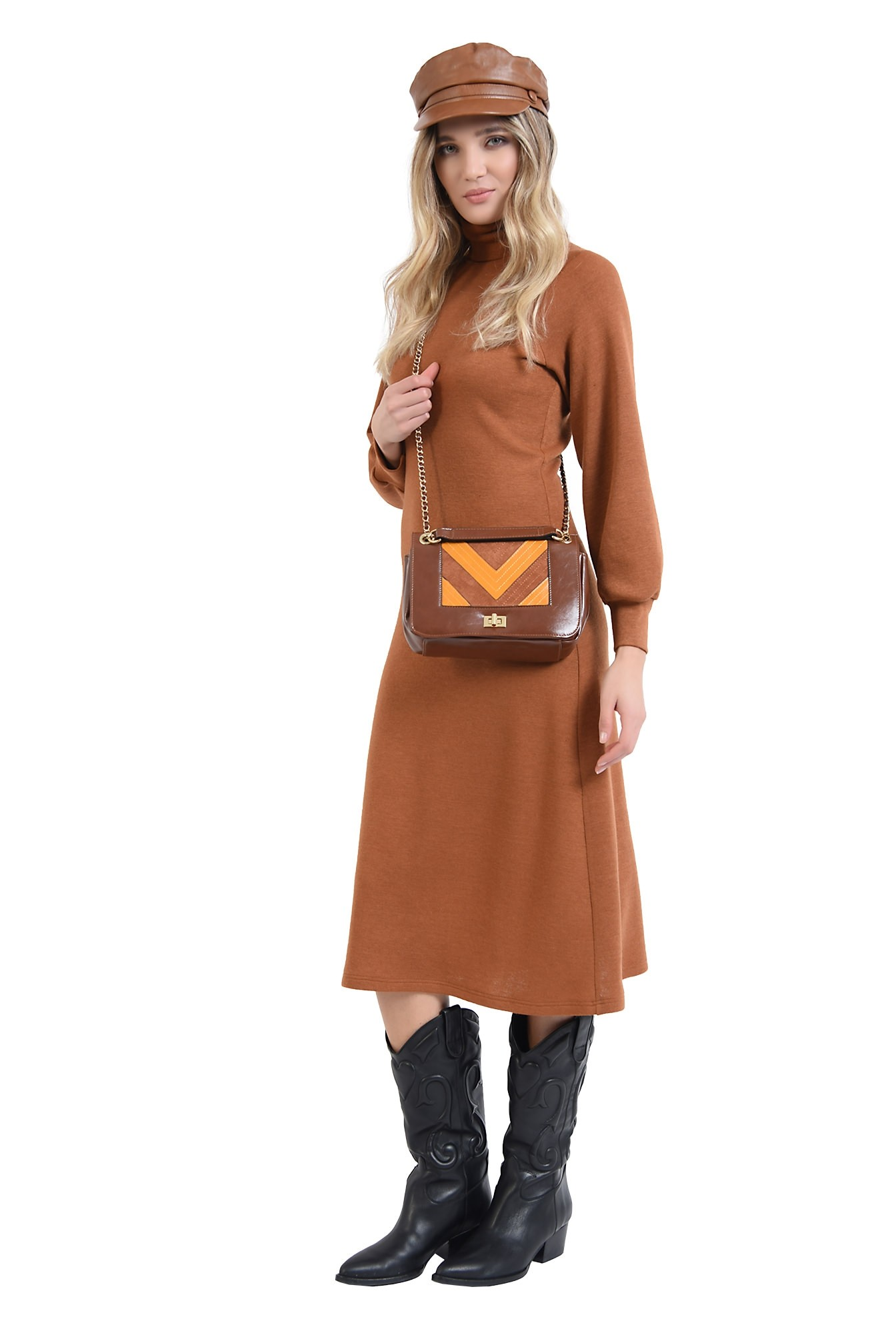 360 - rochie midi, evazata, din tricot, cu maneca bufanta