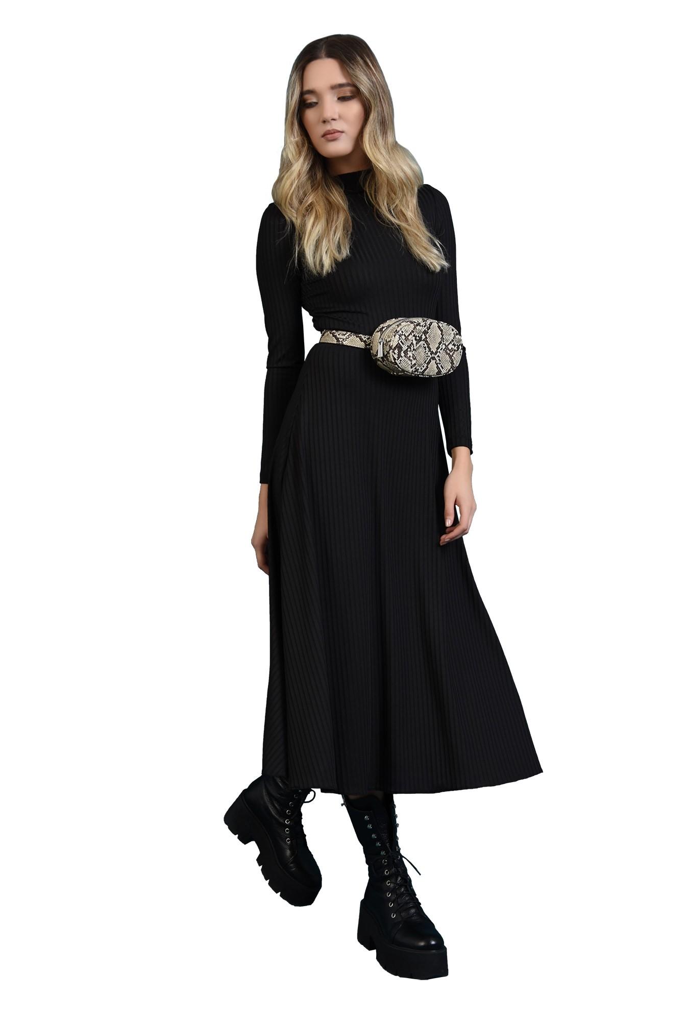 rochie midi, evazata, cu maneca lunga
