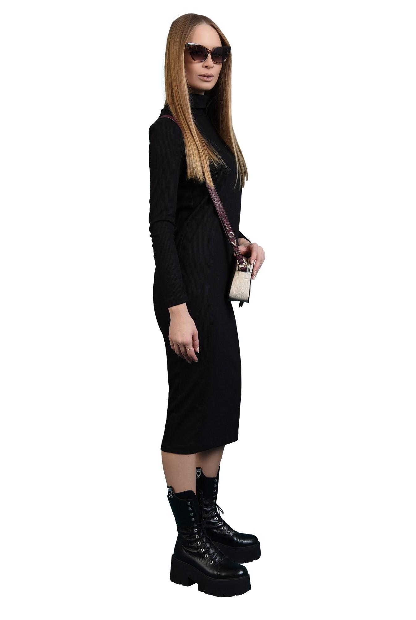 rochie midi, neagra, tricotata, cu maneca lunga