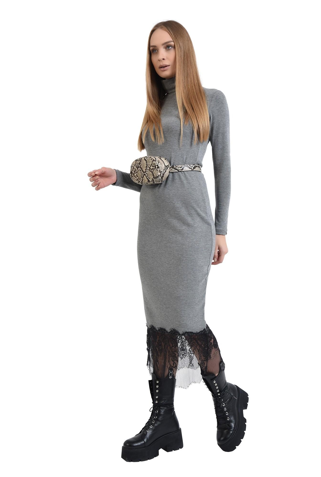 rochie tricotata, gri, cu guler inalt, Poema