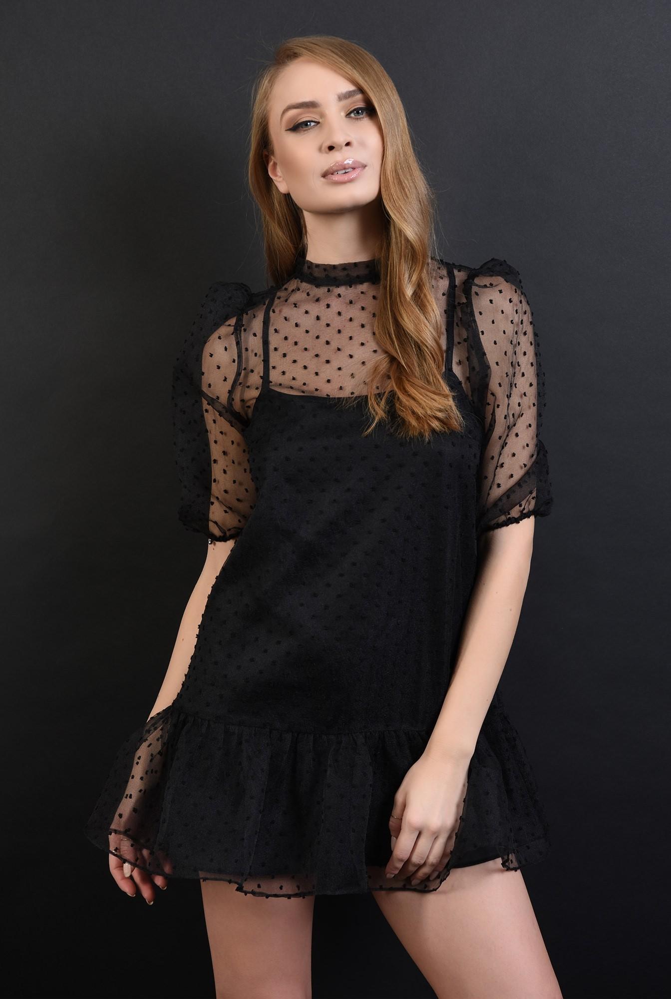 rochie scurta, neagra, cu volan la baza