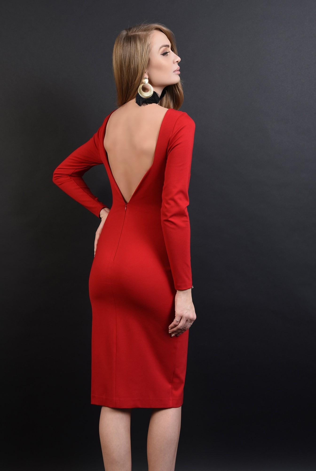 360 - rochie rosie, midi, cu decolteu la spate