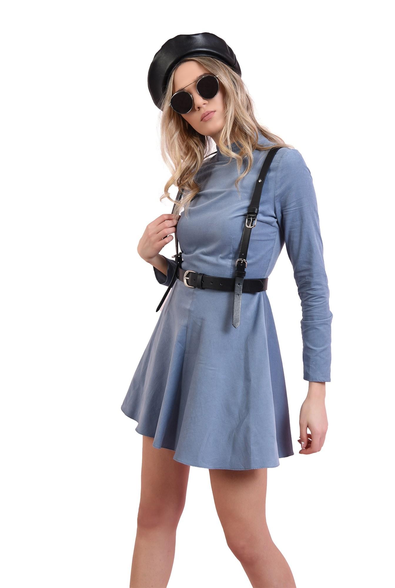 rochie scurta, bleu, evazata