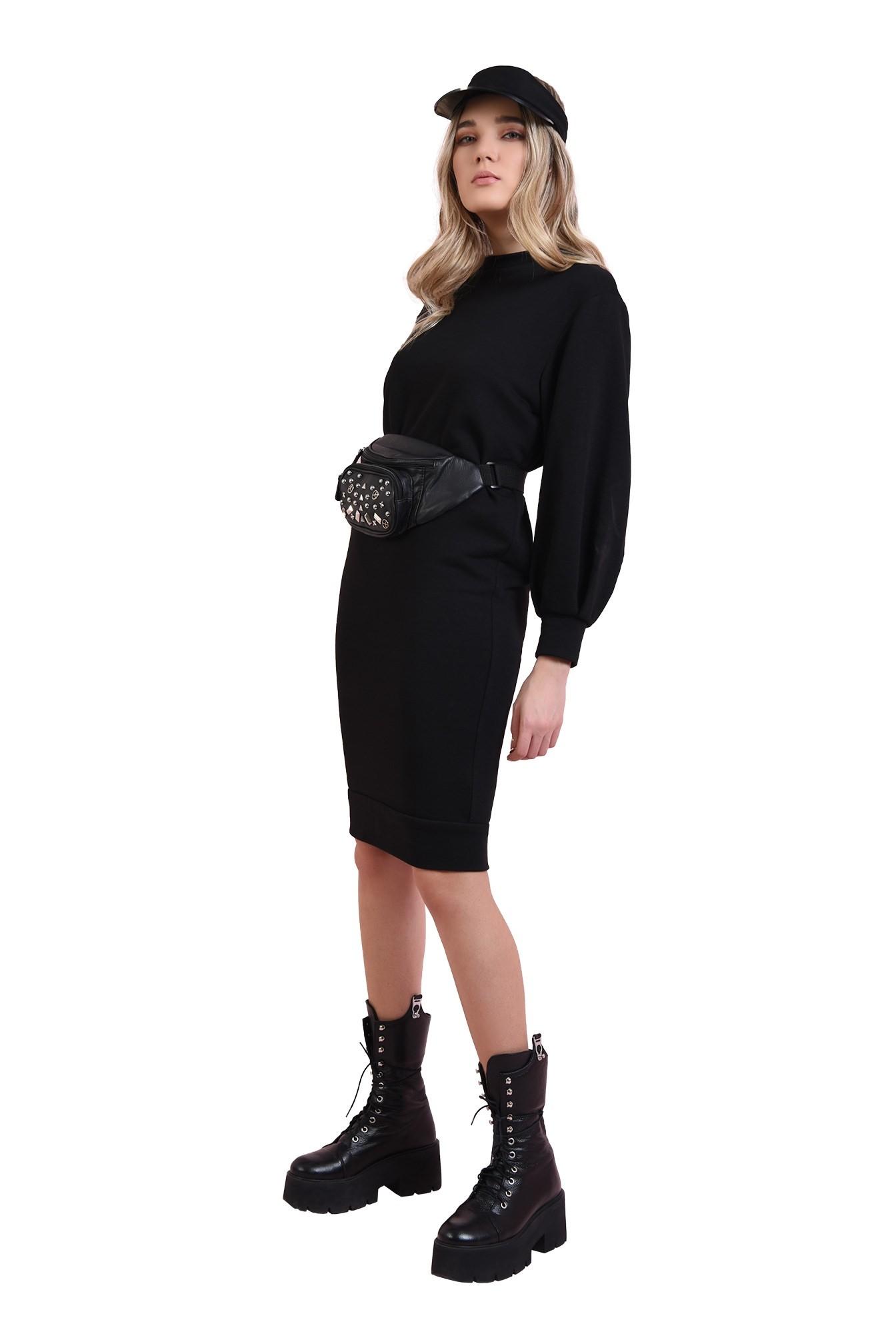 rochie casual, neagra, cu maneca bufanta