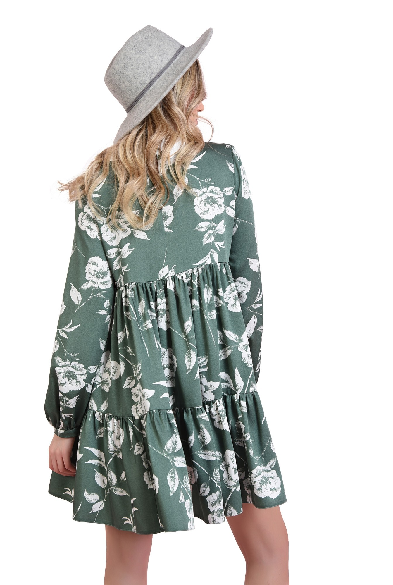 rochie cu guler in contrast, cu volan