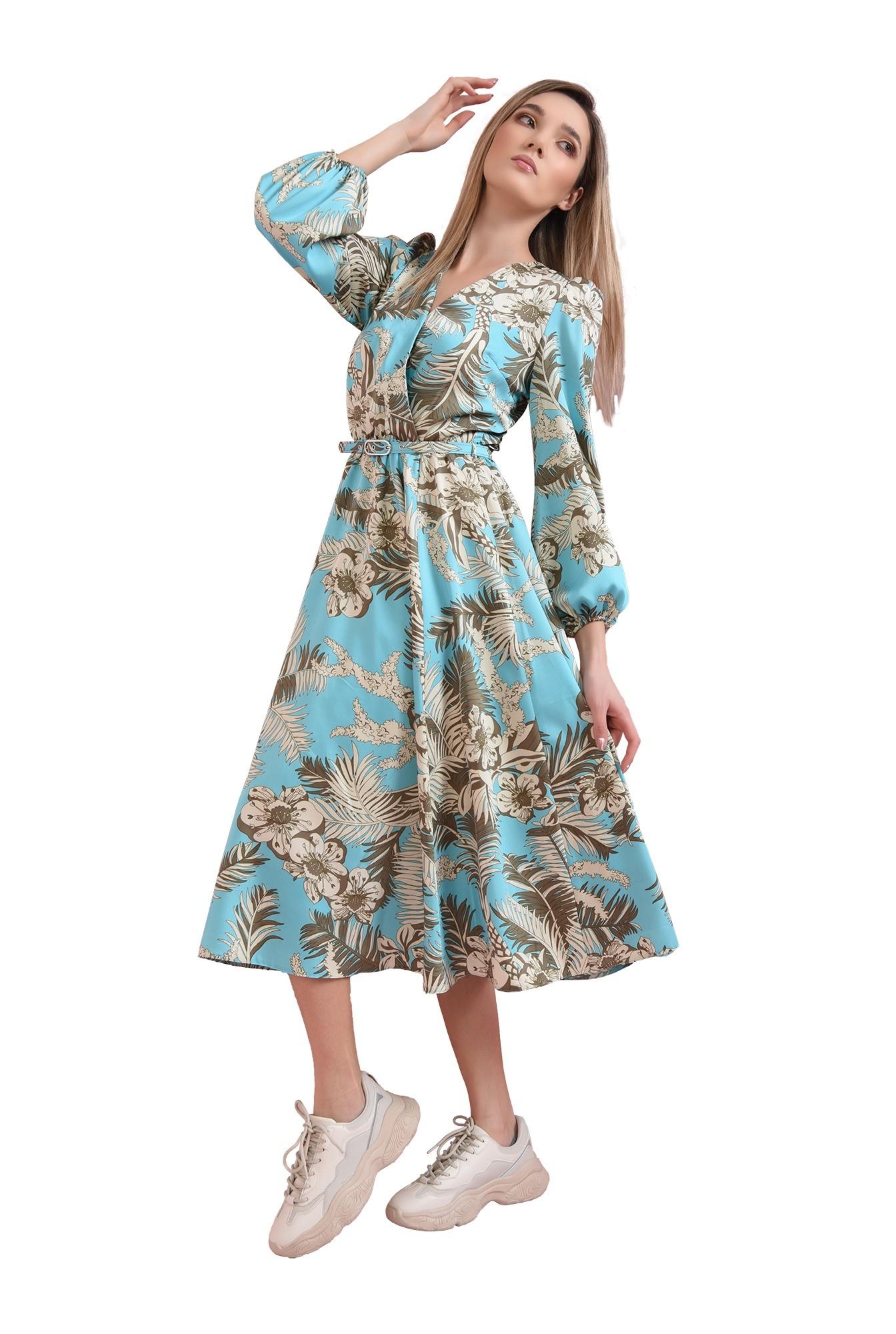 rochie cu centura, cu imprimeu, Poema