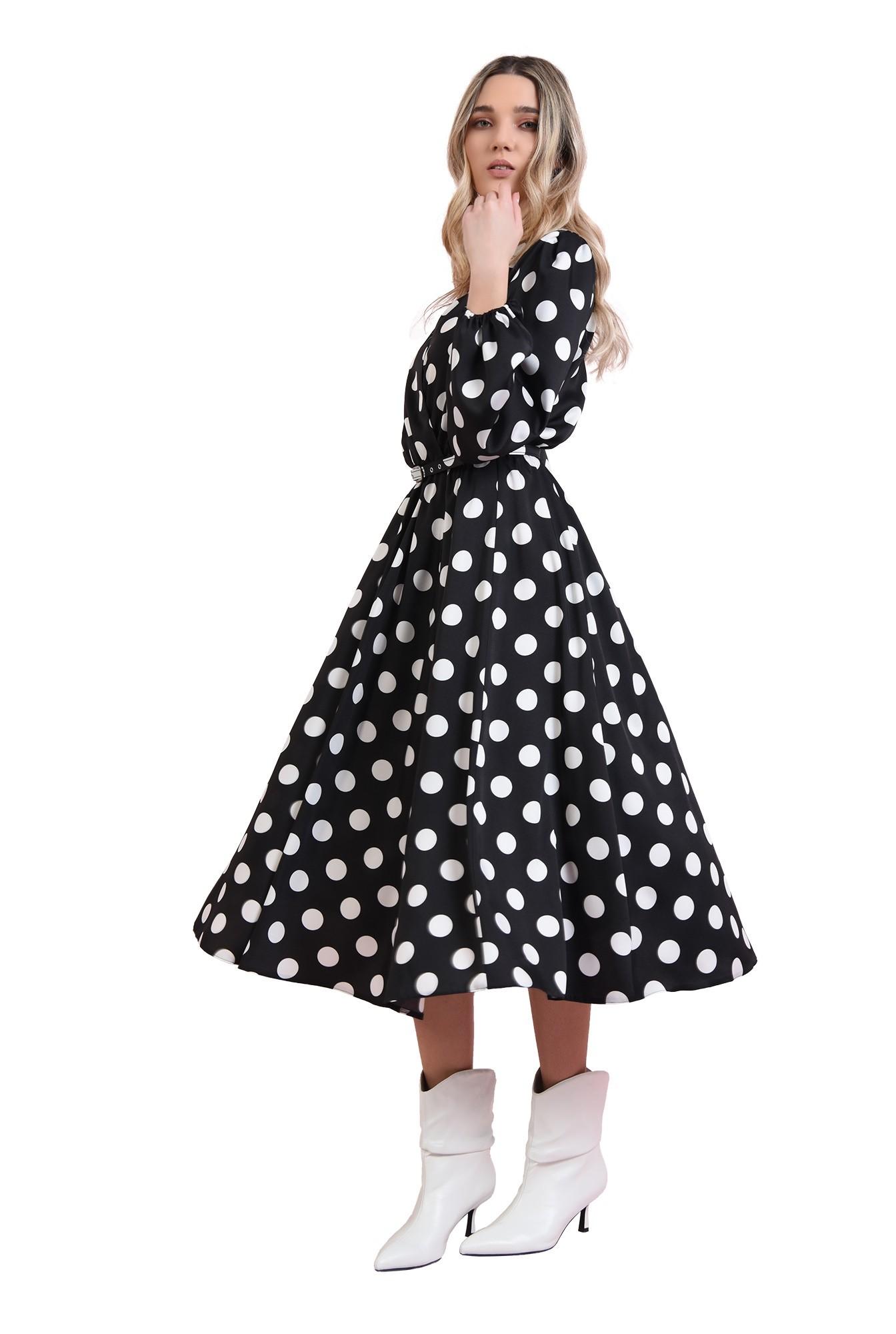 rochie midi, evazata, cu imprimeu