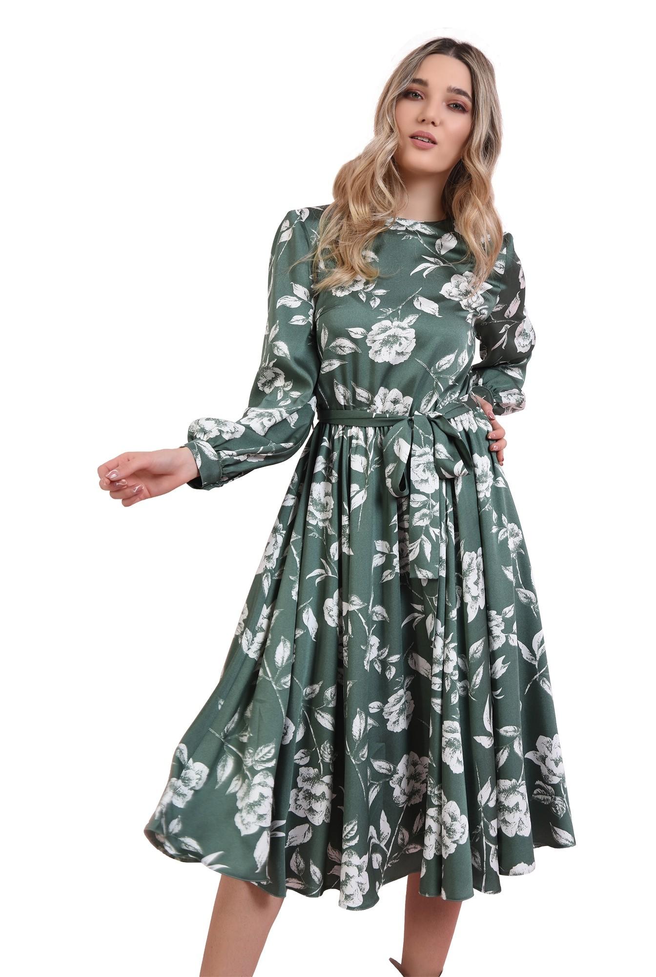 rochie cu imprimeu, cu cordon, Poema
