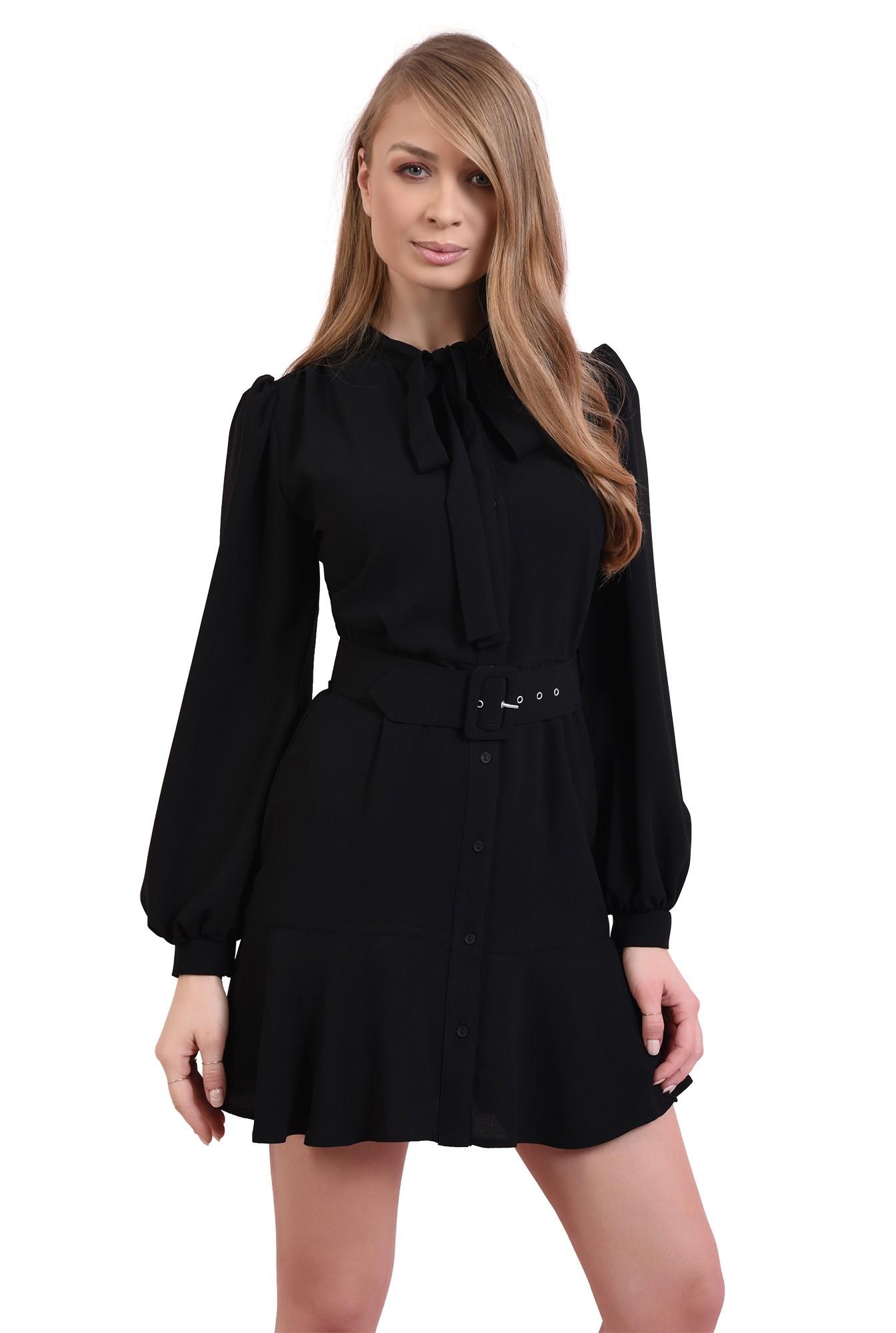 rochie scurta, neagra, cu centura, cu funda