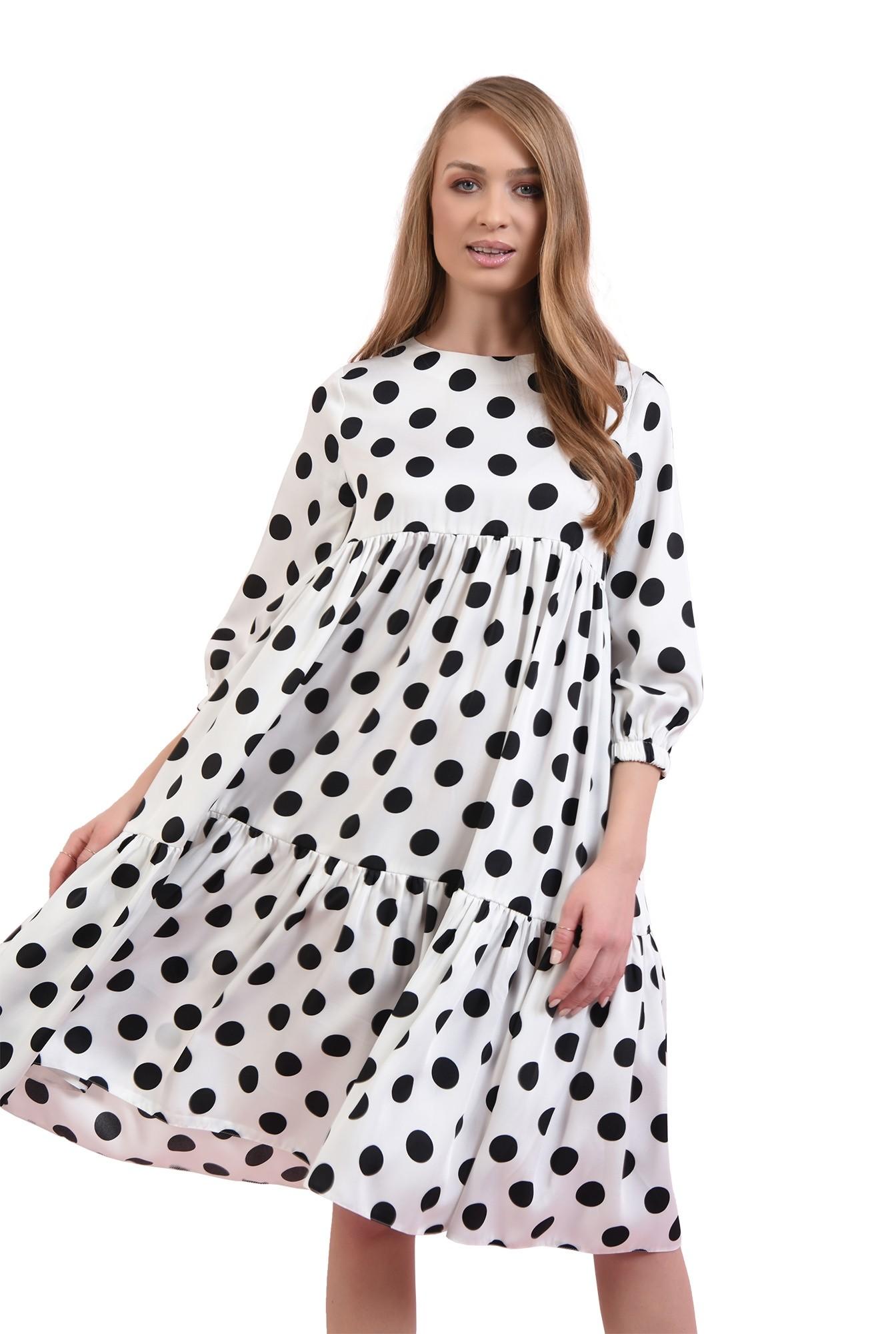 rochie alba, cu buline negre