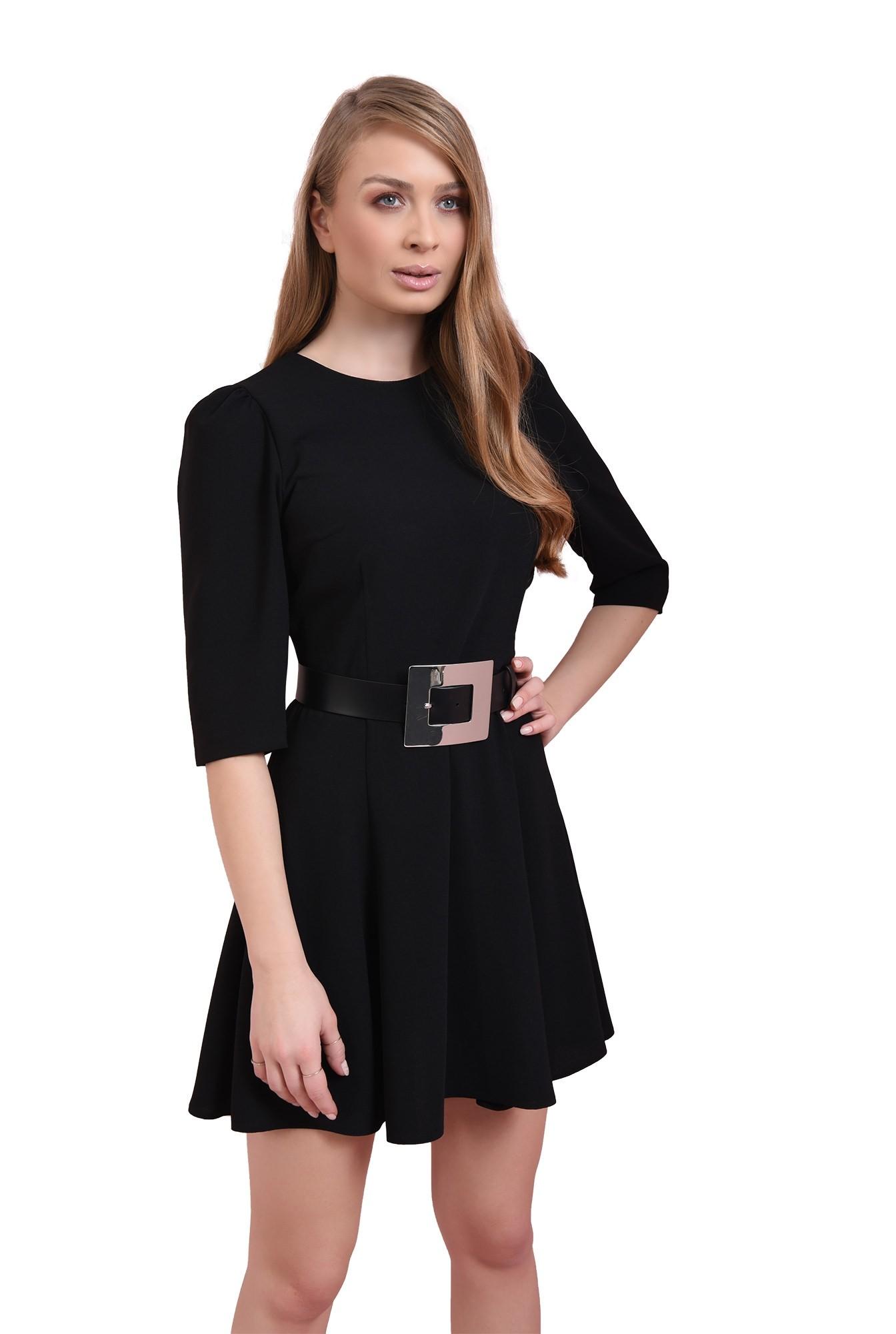 rochie casual, neagra, evazata