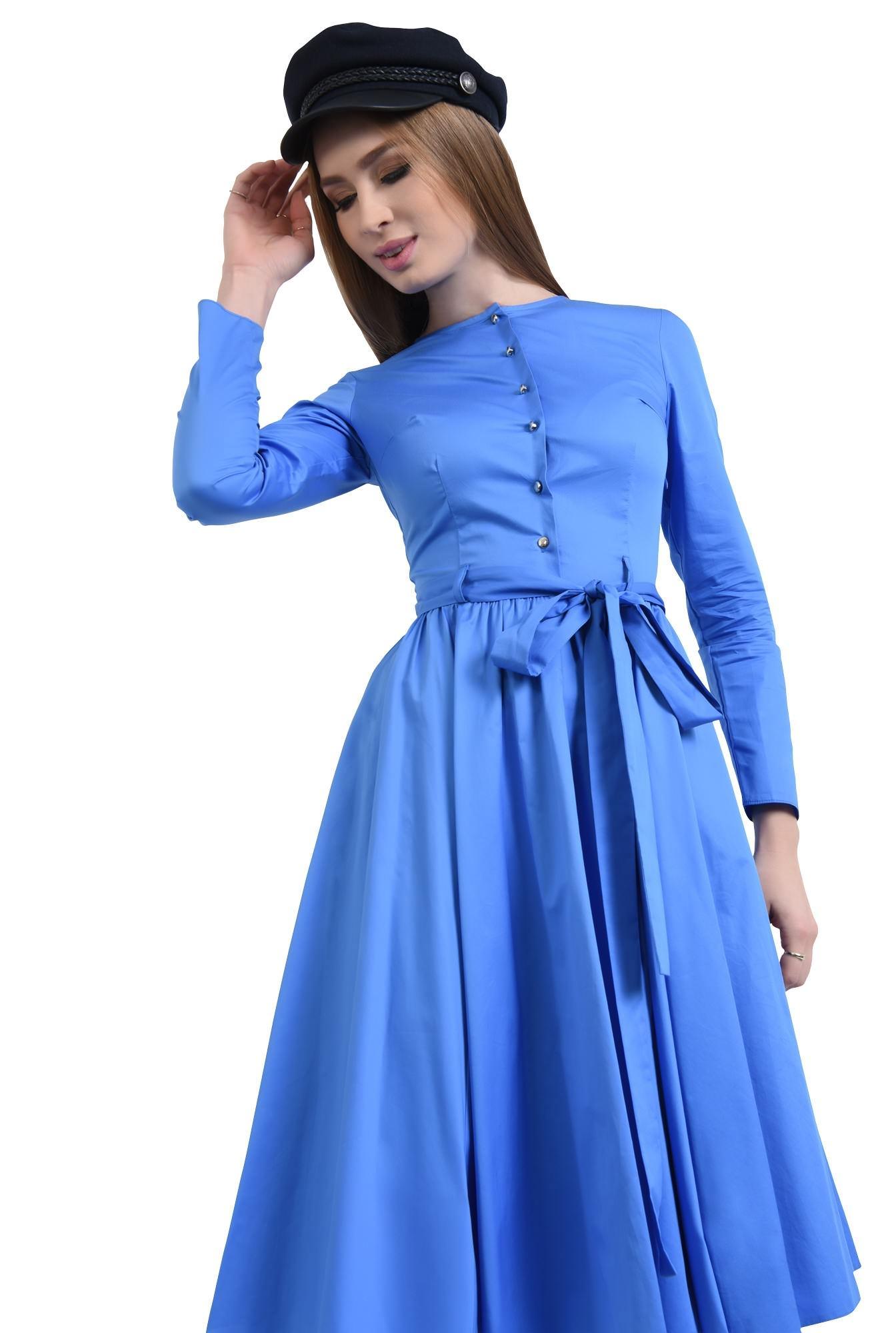 Rochie casual albastra, midi