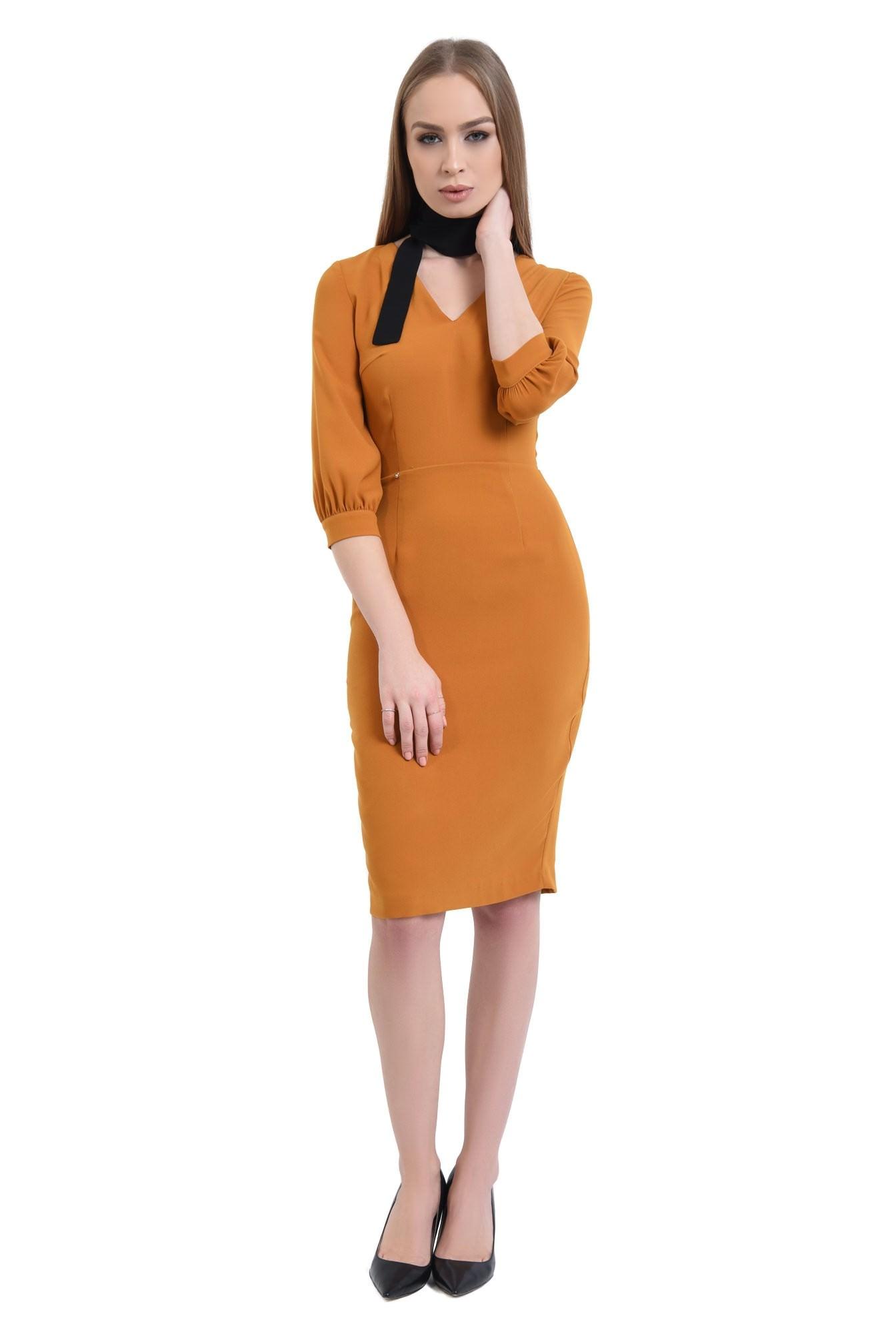 360 - Rochie casual mustar, fermoar, rochii de dama online