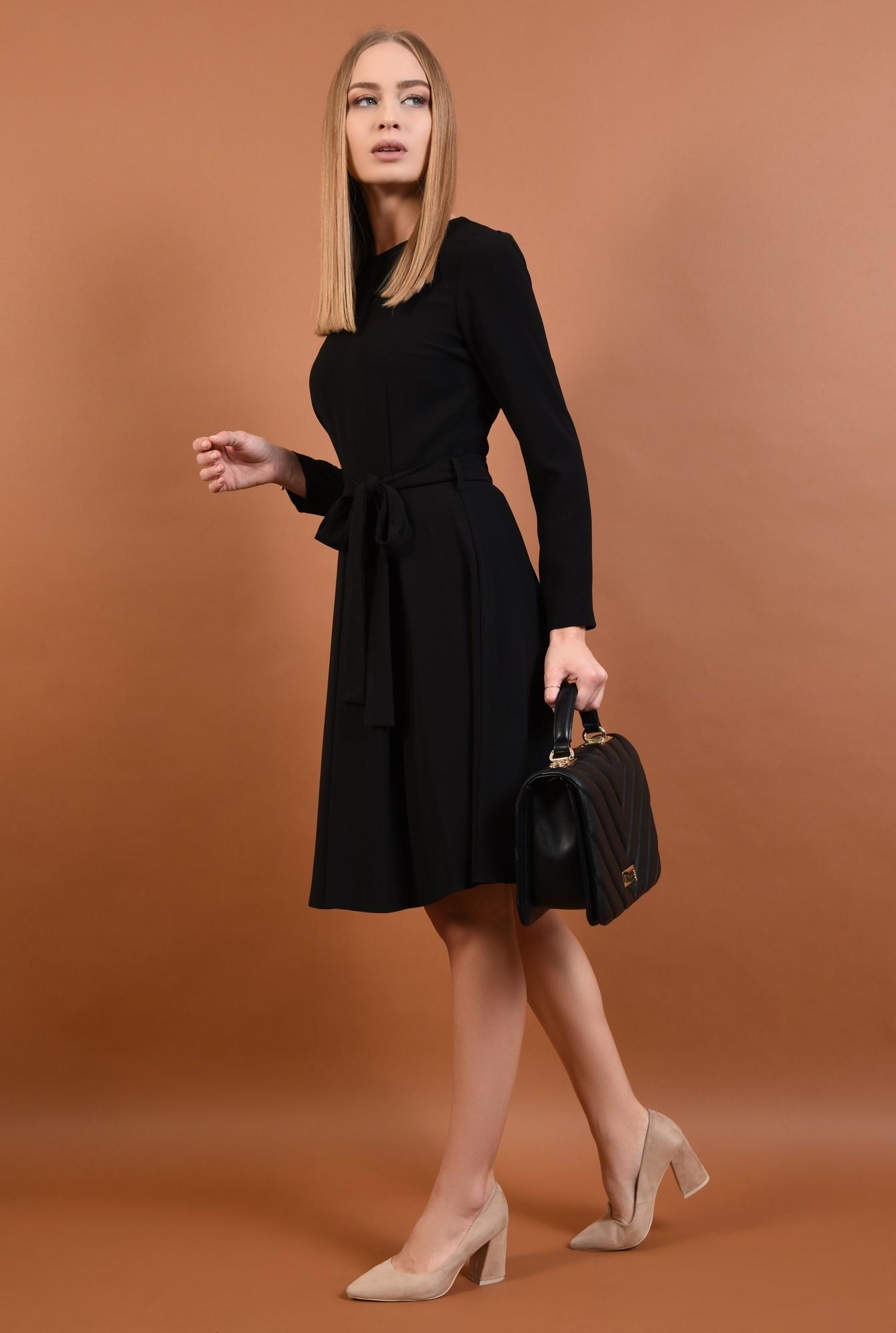 360 - rochie casual evazata, pliseuri late, cordon, funda, negru