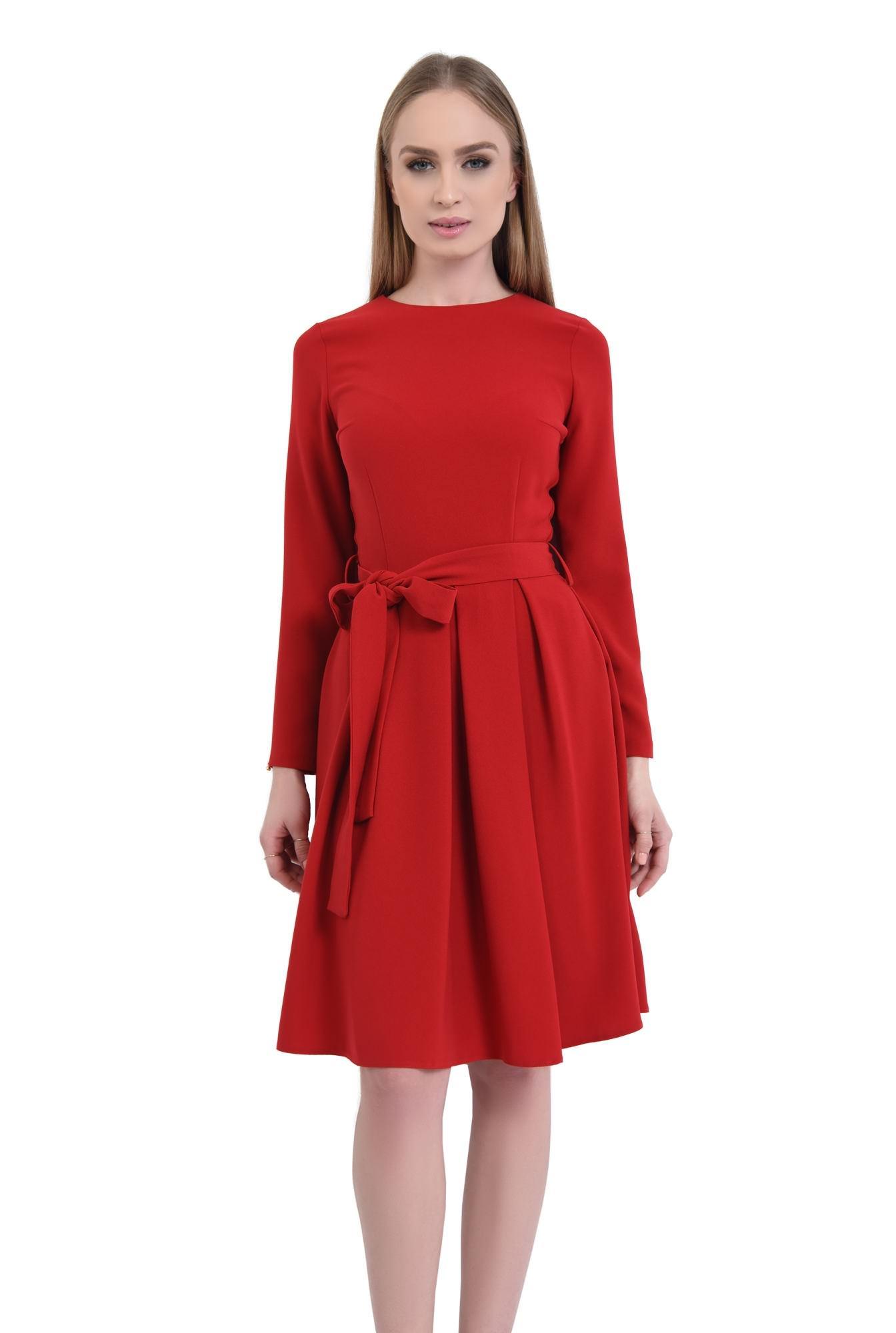 rochie casual, midi, plisata, cordon, rosu
