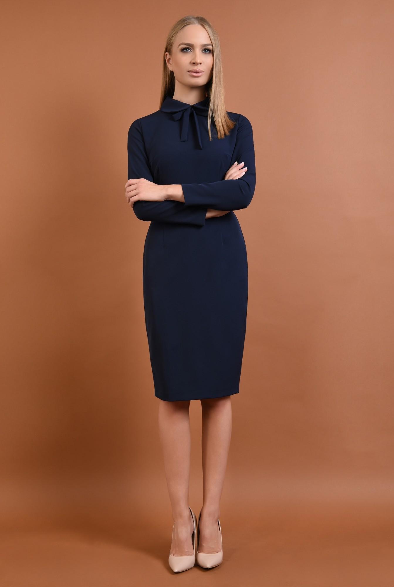 360 - rochie casual, bleumarin, rochie creion, bodycon, guler rotunjit, funda